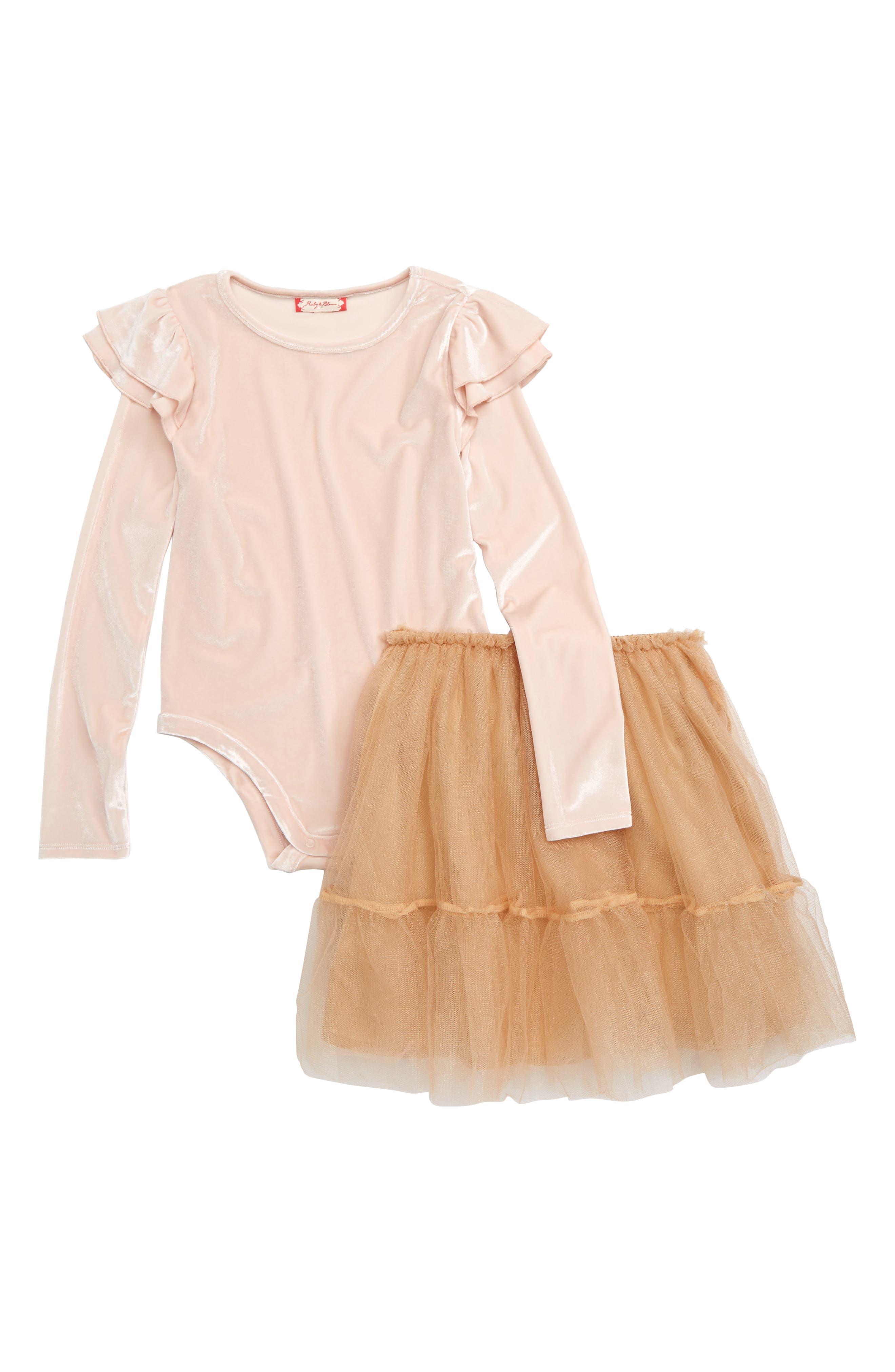 Ballerina Velvet Bodysuit & Tulle Skirt Set, Main, color, PINK WOOD- GOLD