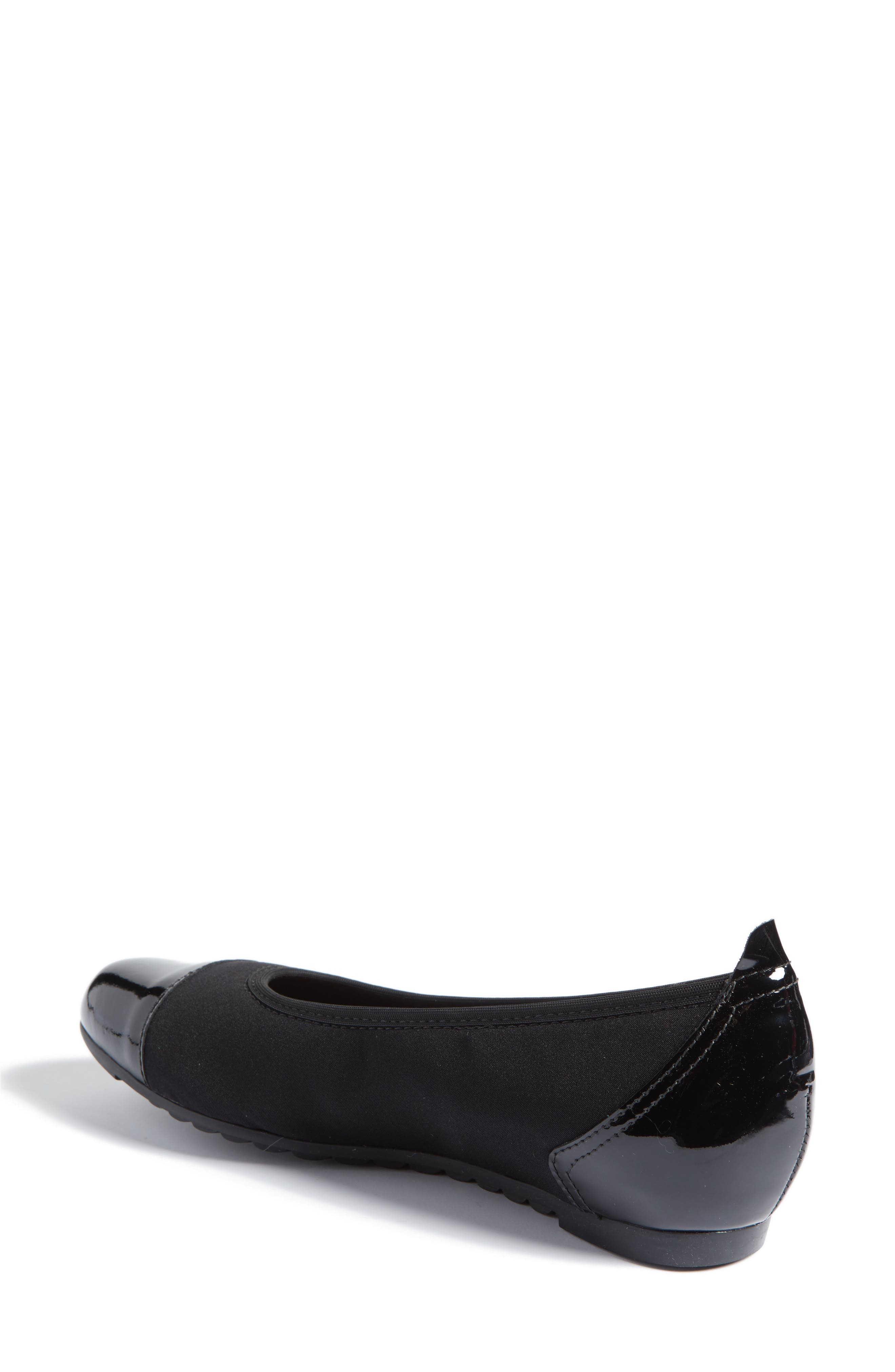 Henlee Cap Toe Flat,                             Alternate thumbnail 2, color,                             BLACK FABRIC