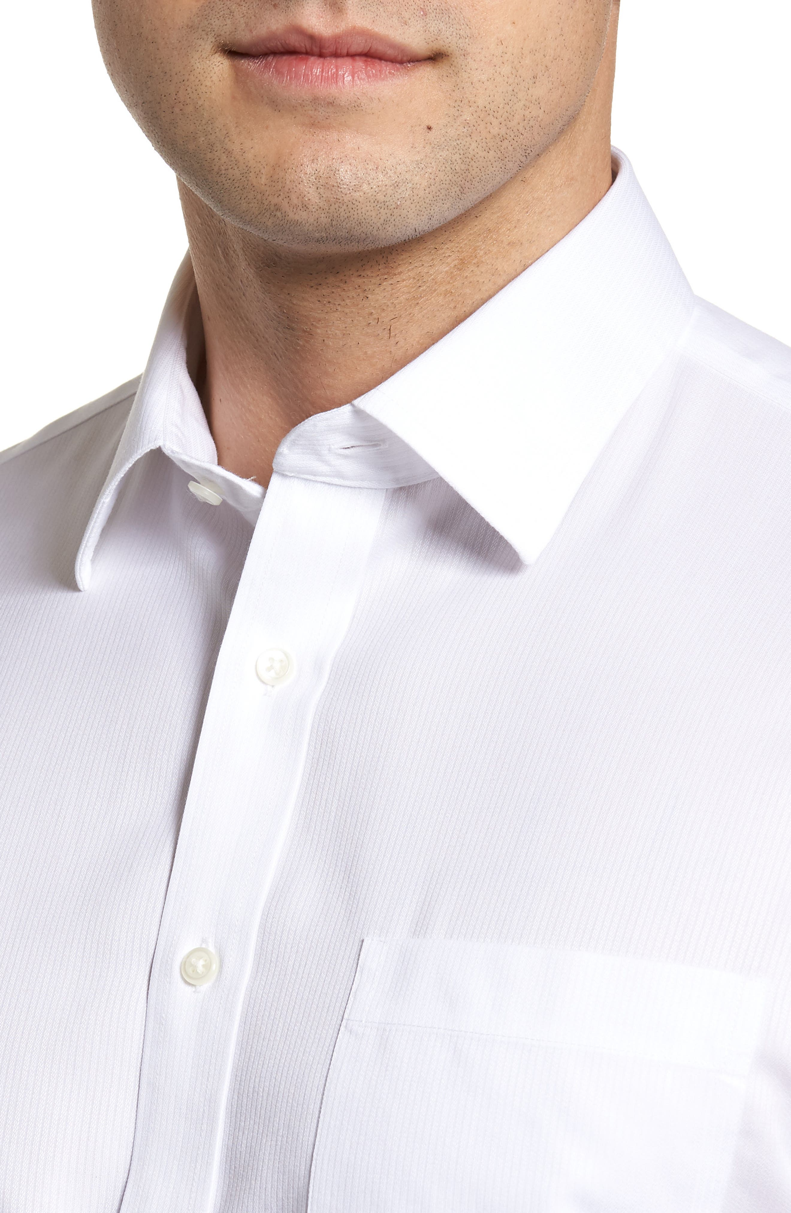 Smartcare<sup>™</sup> Traditional Fit Stripe Dress Shirt,                             Alternate thumbnail 2, color,                             WHITE