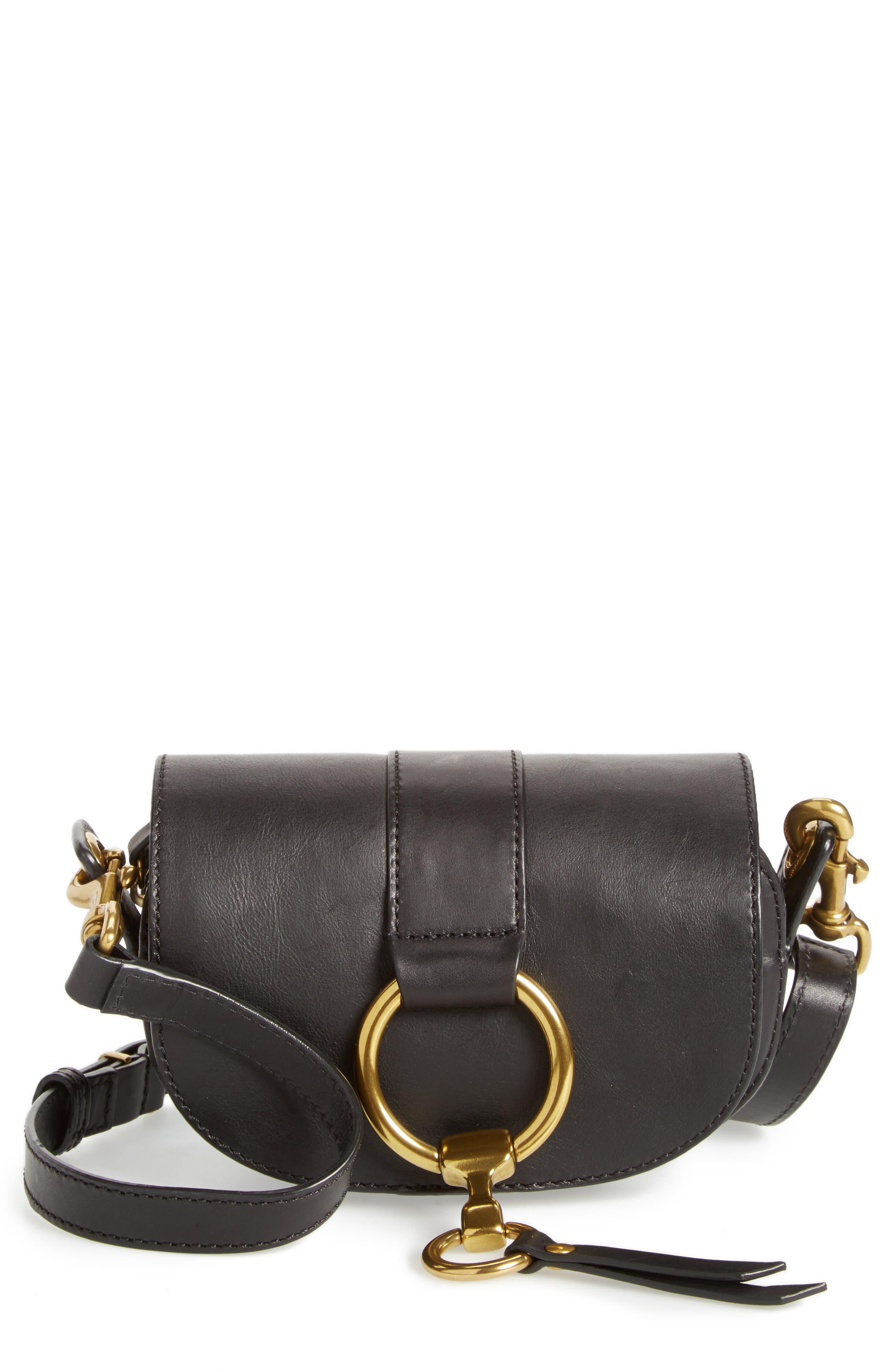 Mini Ilana Harness Leather Saddle Bag,                             Main thumbnail 1, color,                             001