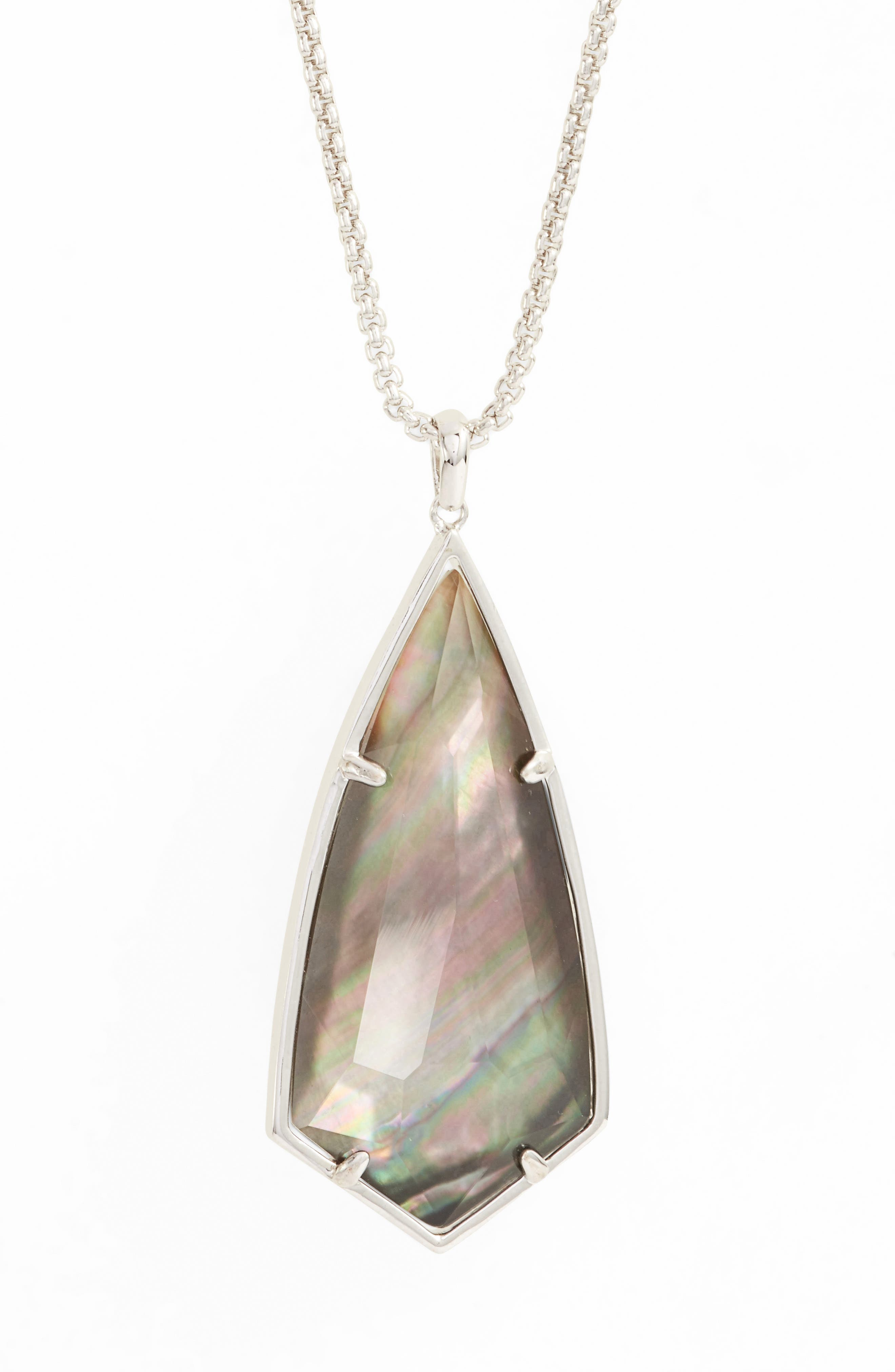 'Carole' Long Semiprecious Stone Pendant Necklace,                             Alternate thumbnail 28, color,