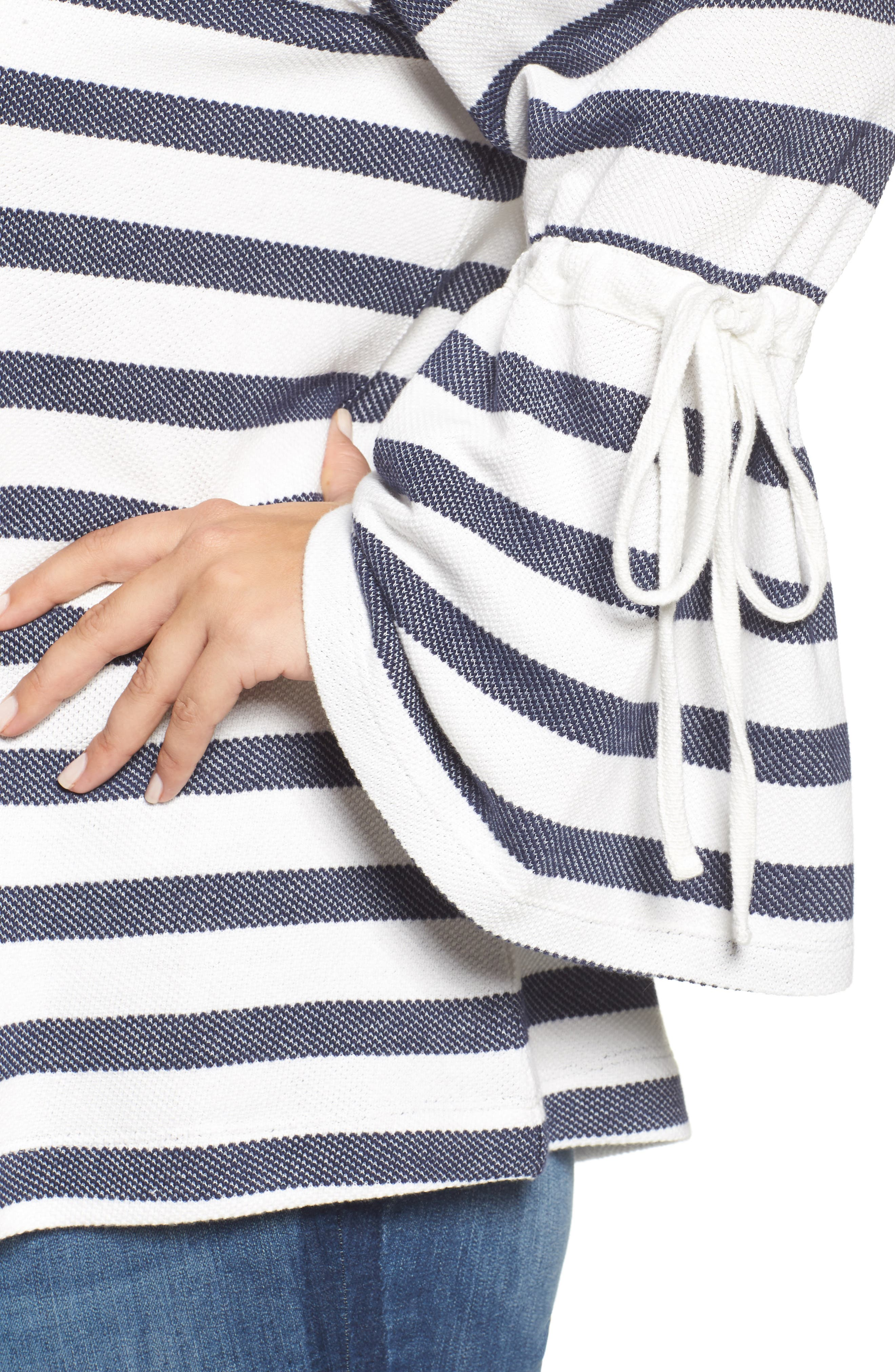 Stripe Bell Sleeve Top,                             Alternate thumbnail 4, color,                             410