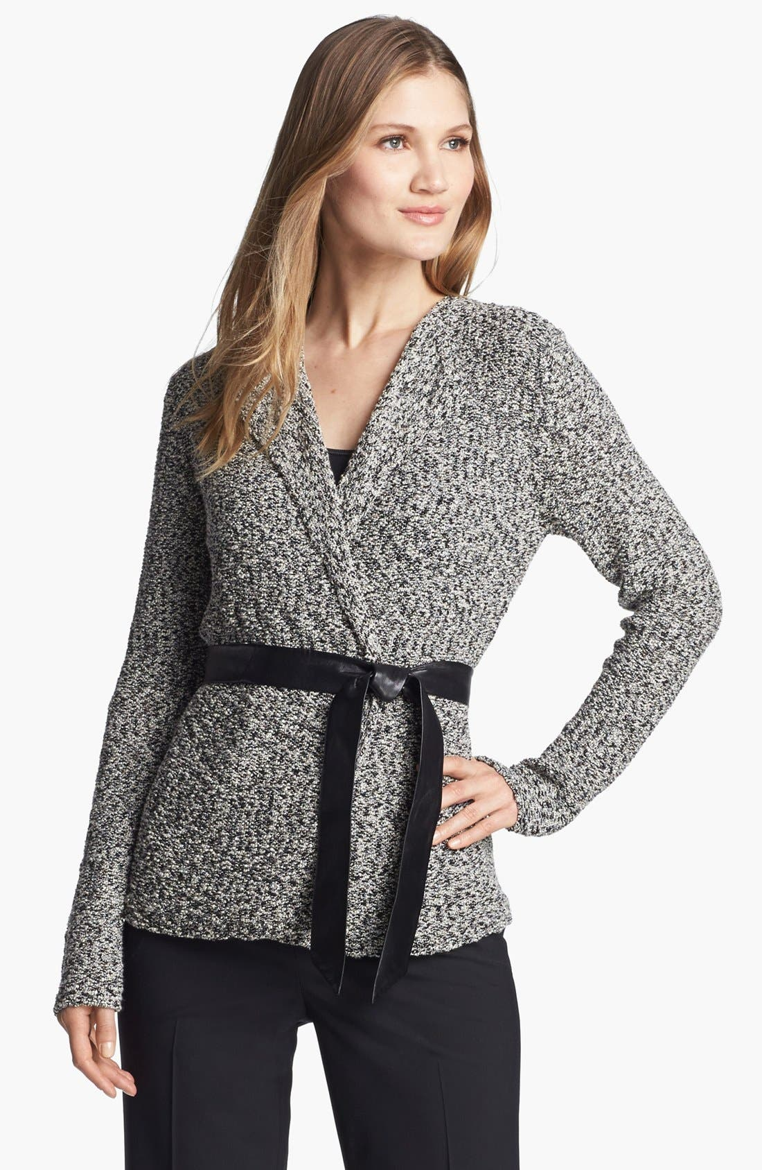 'Gallo' Belted Sweater Jacket,                             Main thumbnail 1, color,                             001
