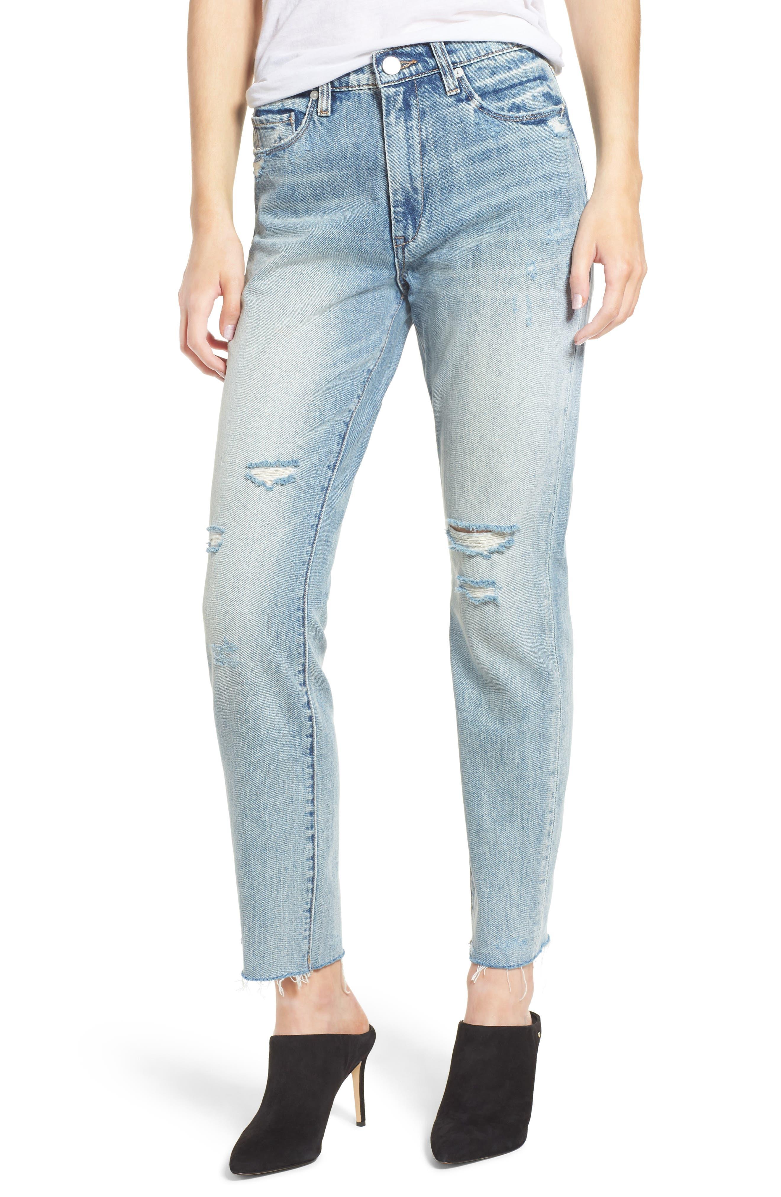 Distressed Rigid Straight Leg Jeans,                             Main thumbnail 1, color,