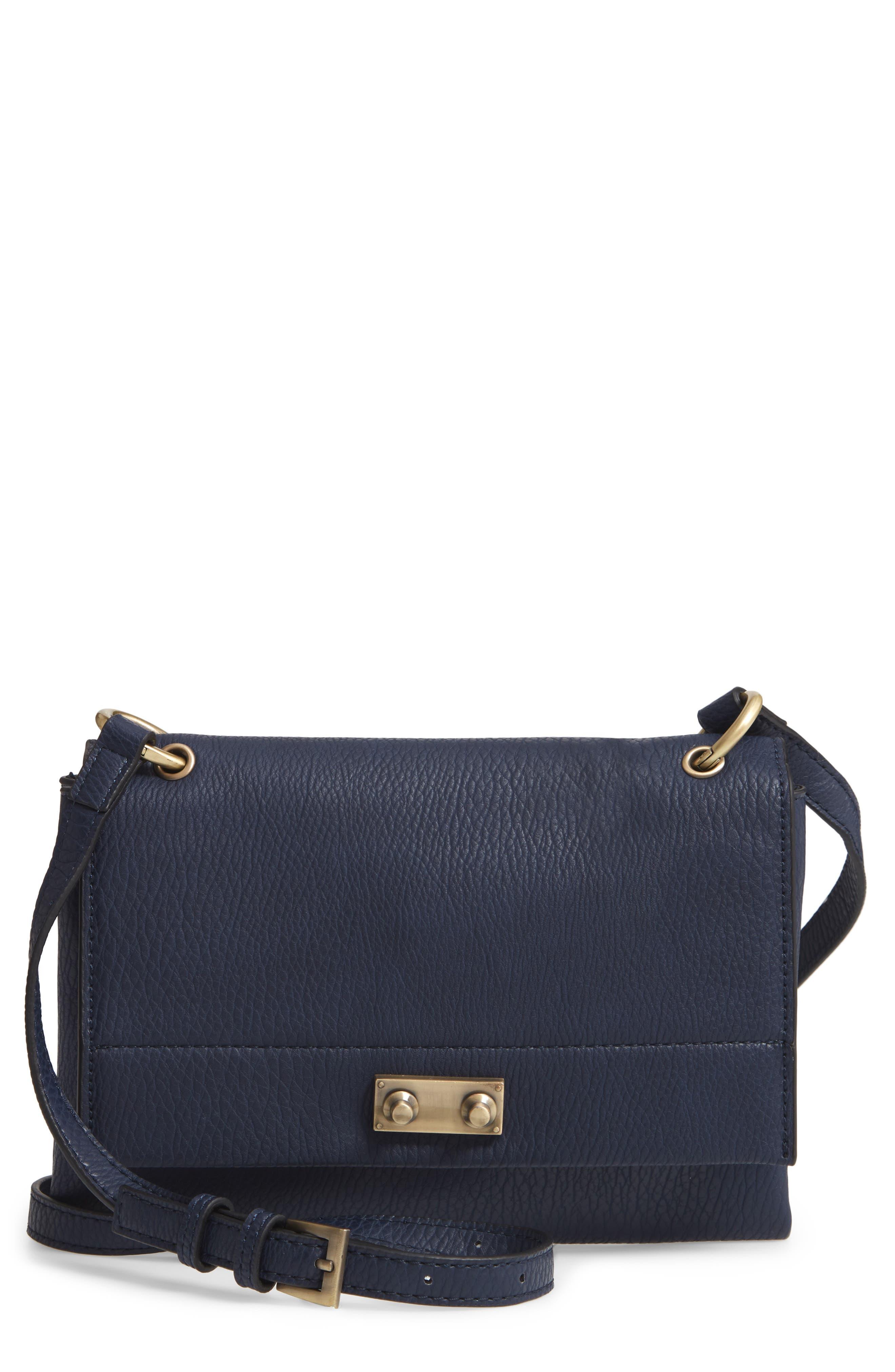 SONDRA ROBERTS Faux Leather Crossbody Bag - Blue in Navy