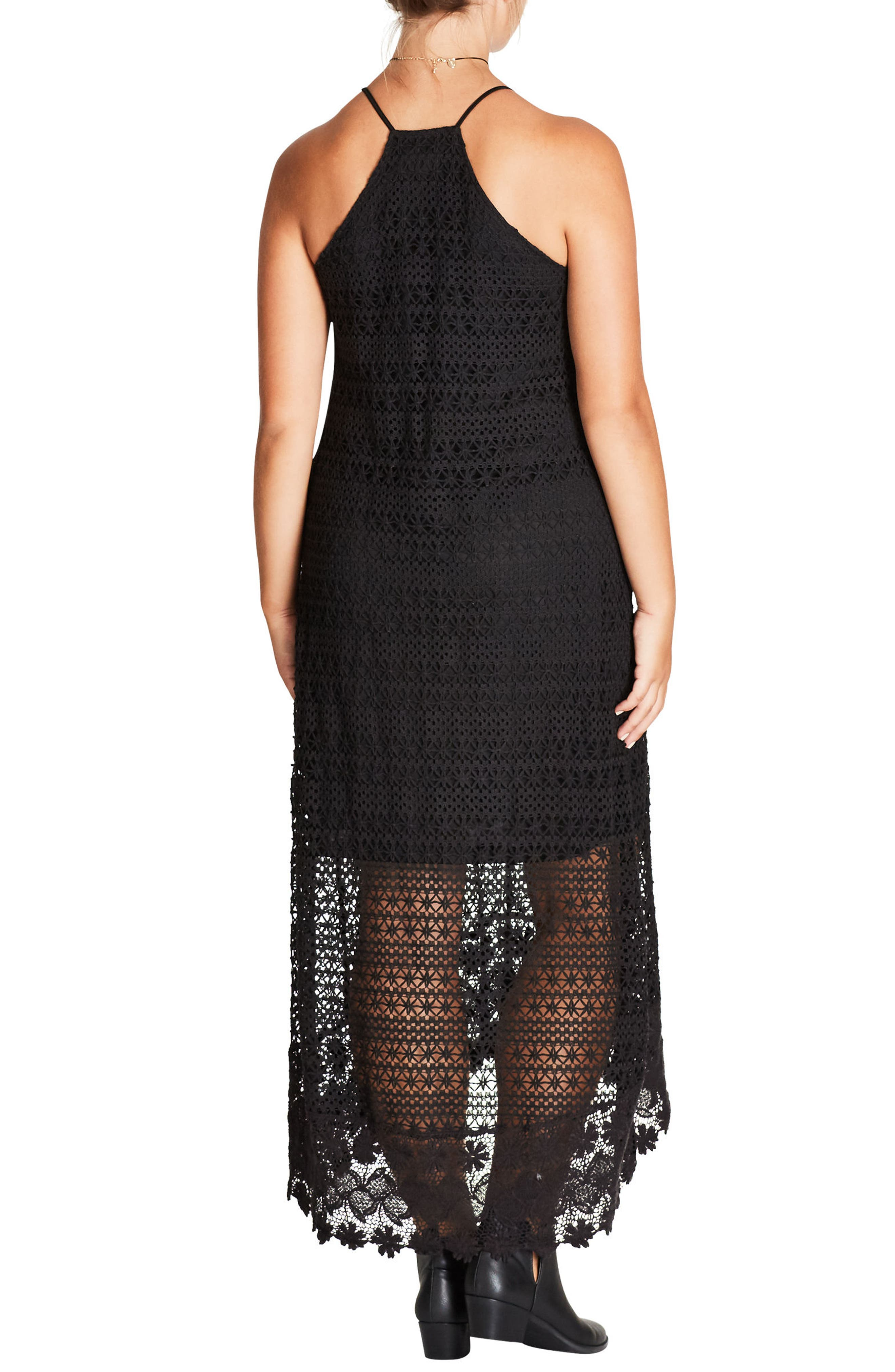 Crochet Maxi Dress,                             Alternate thumbnail 3, color,
