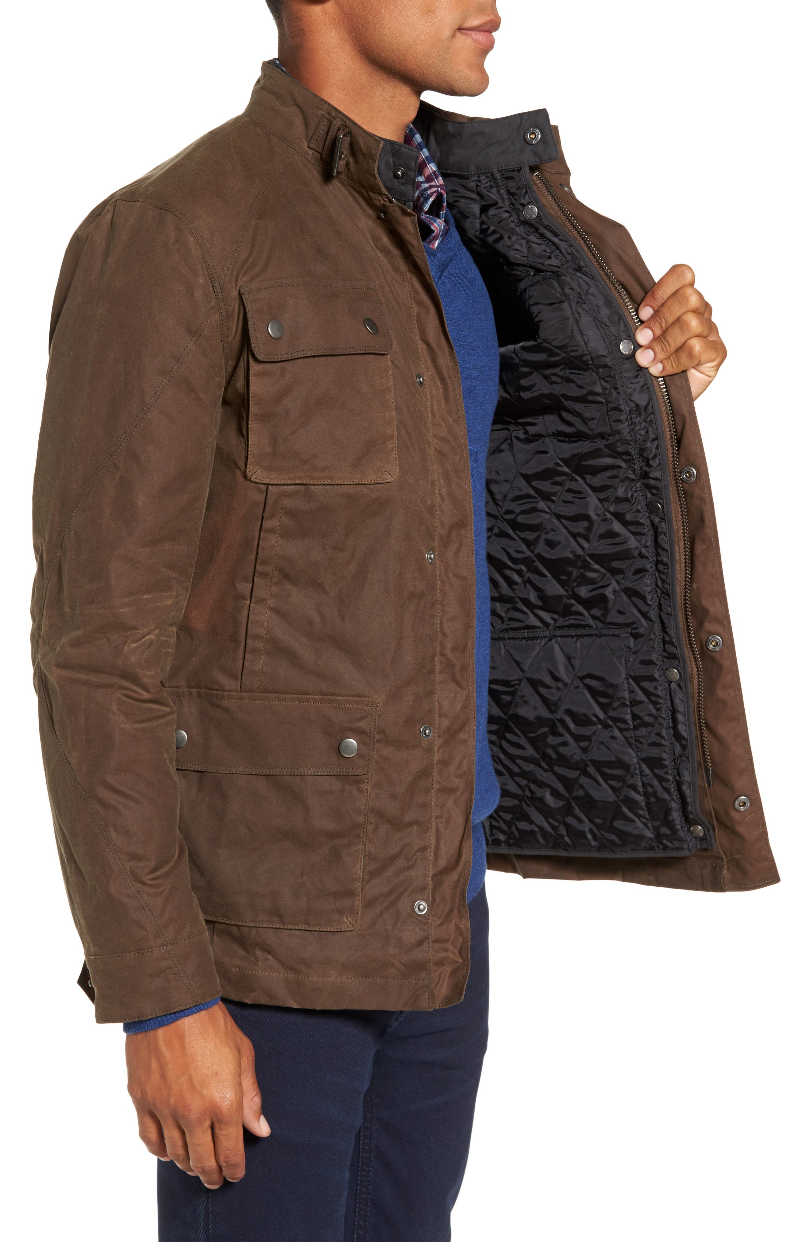 3-in-1 Waxed Cotton Jacket with Removable Vest,                             Alternate thumbnail 3, color,                             250