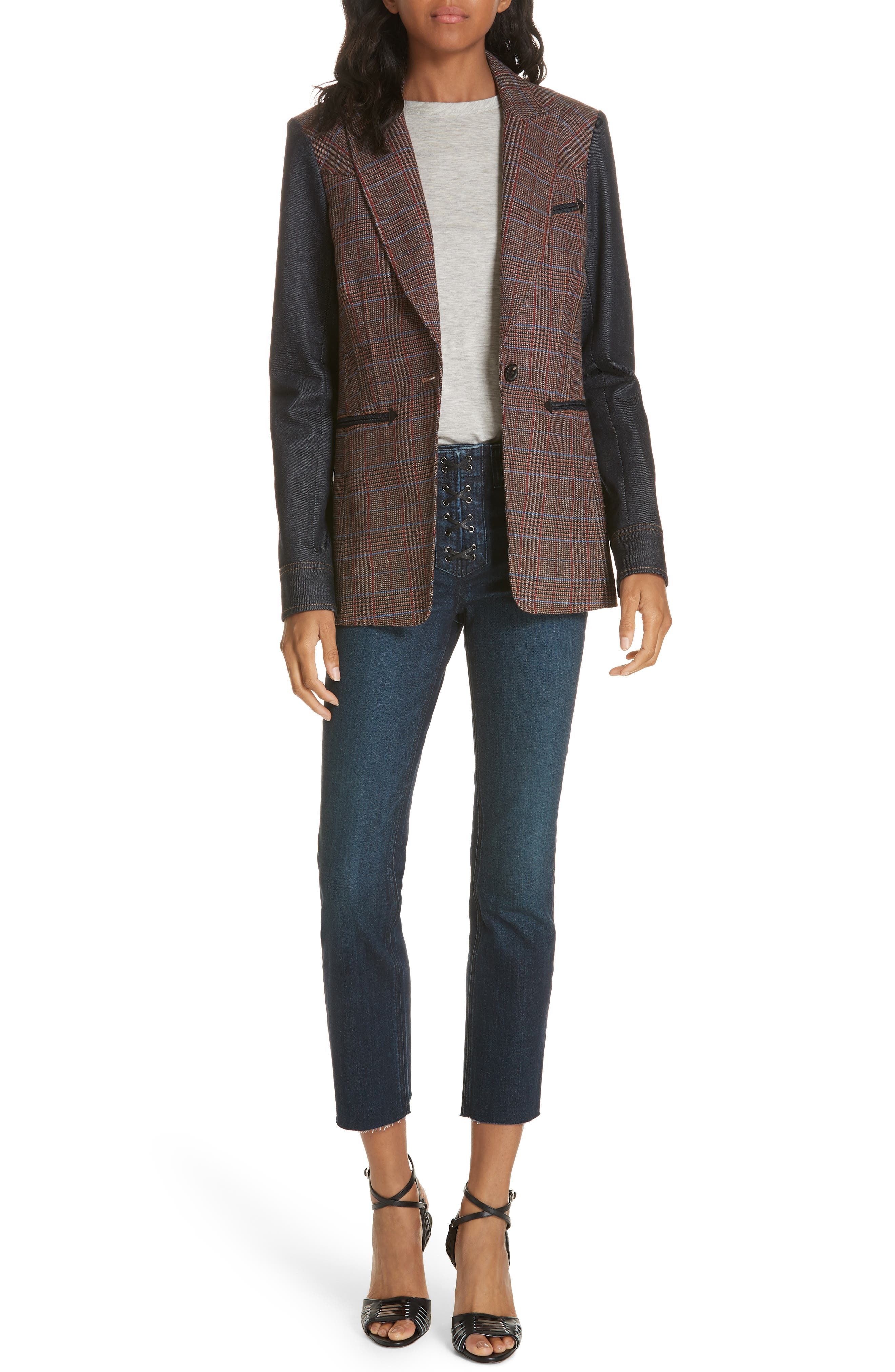 Mela Denim Sleeve Dickey Jacket,                             Alternate thumbnail 7, color,                             BROWN/ ORANGE
