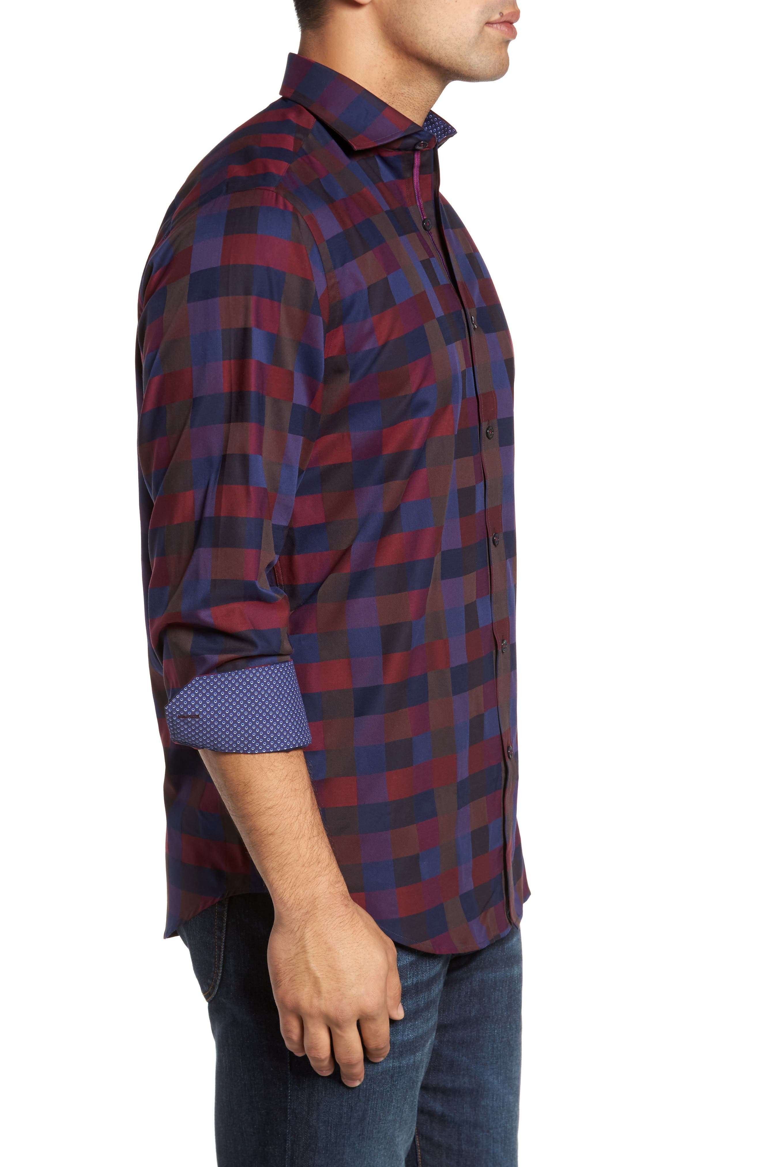 Classic Fit Check Sport Shirt,                             Alternate thumbnail 3, color,                             503