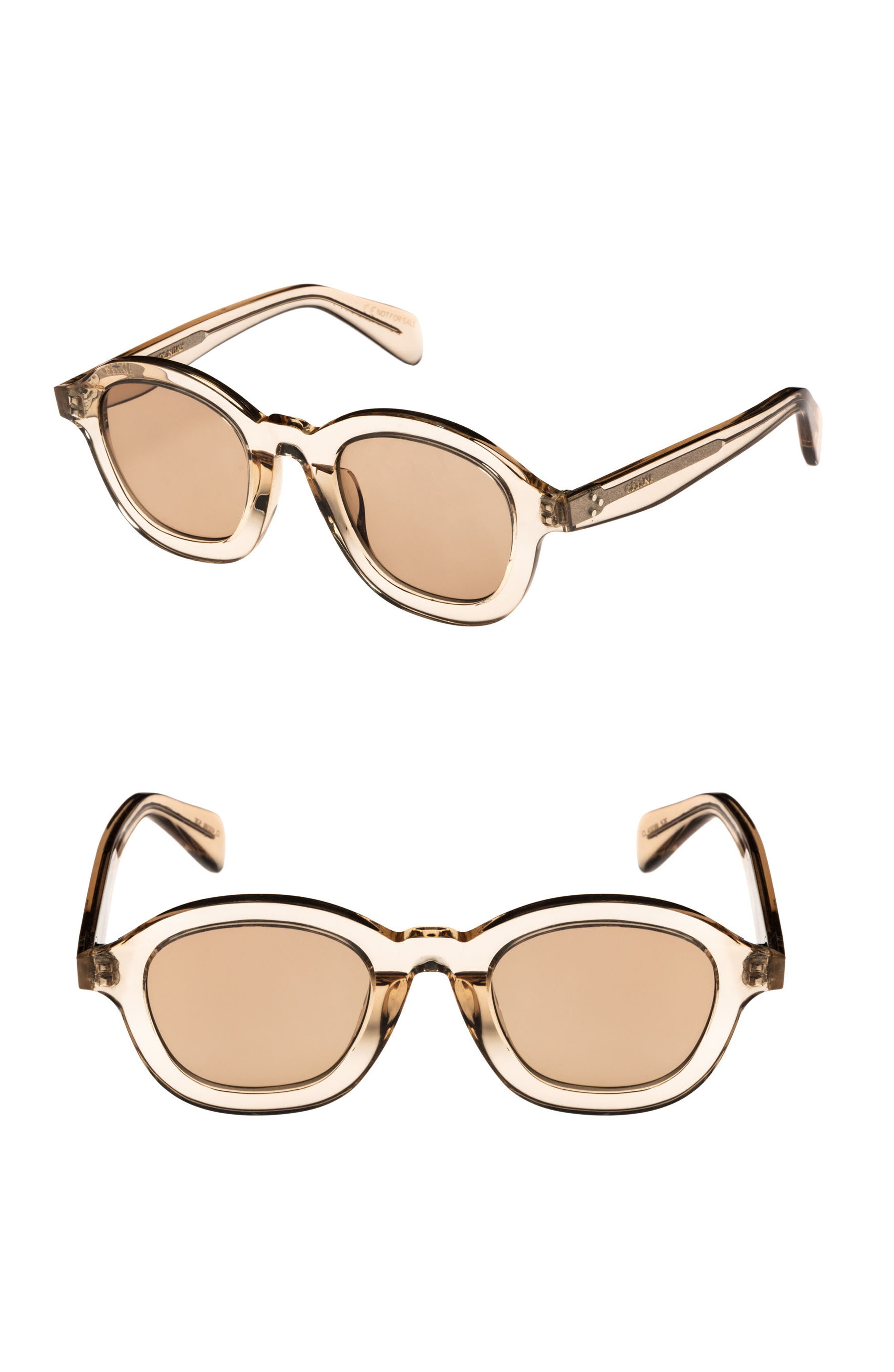 47mm Round Sunglasses,                         Main,                         color, BEIGE/ LIGHT BROWN