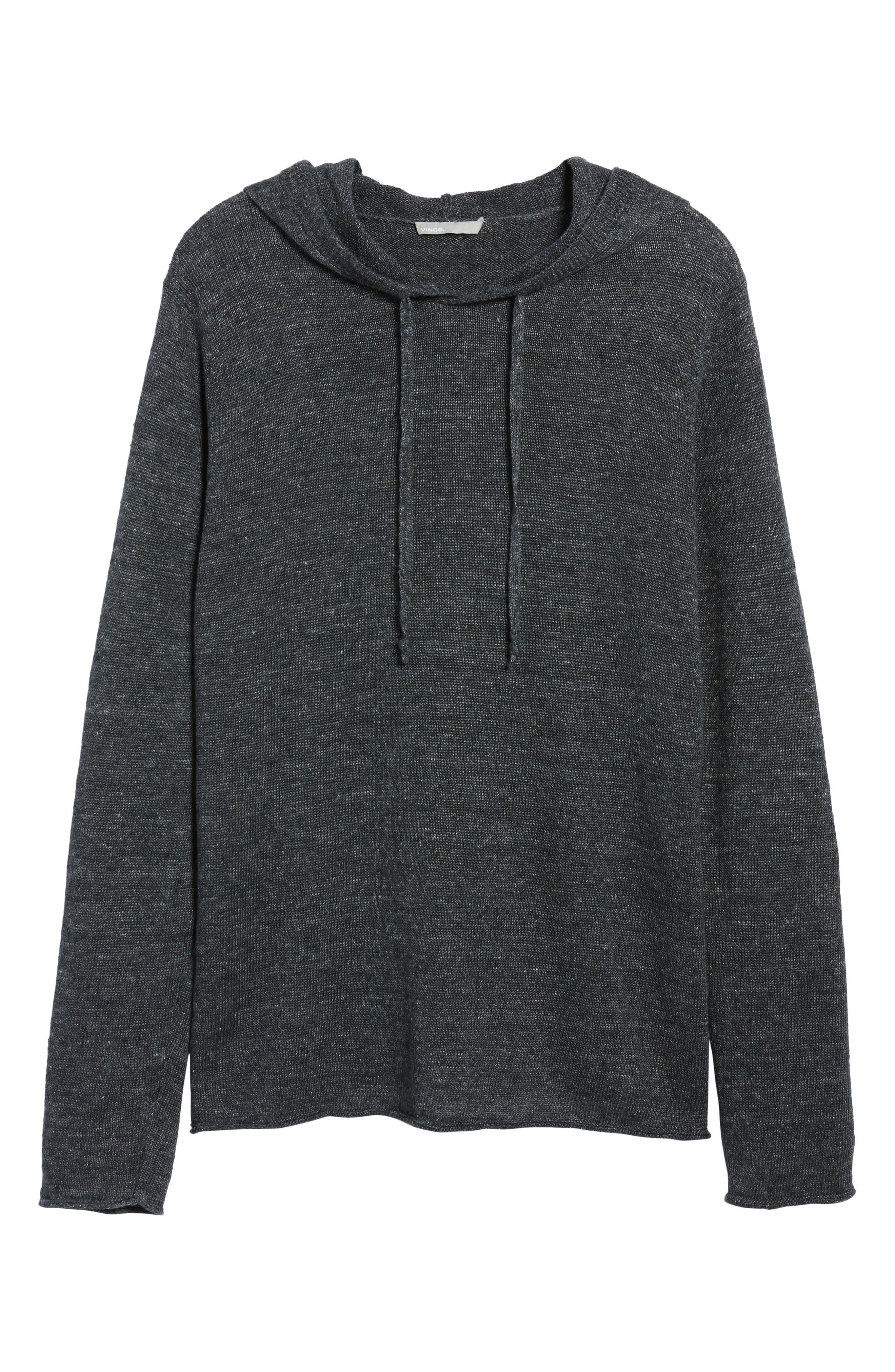 Slim Fit Linen Pullover Hoodie,                             Alternate thumbnail 6, color,                             001