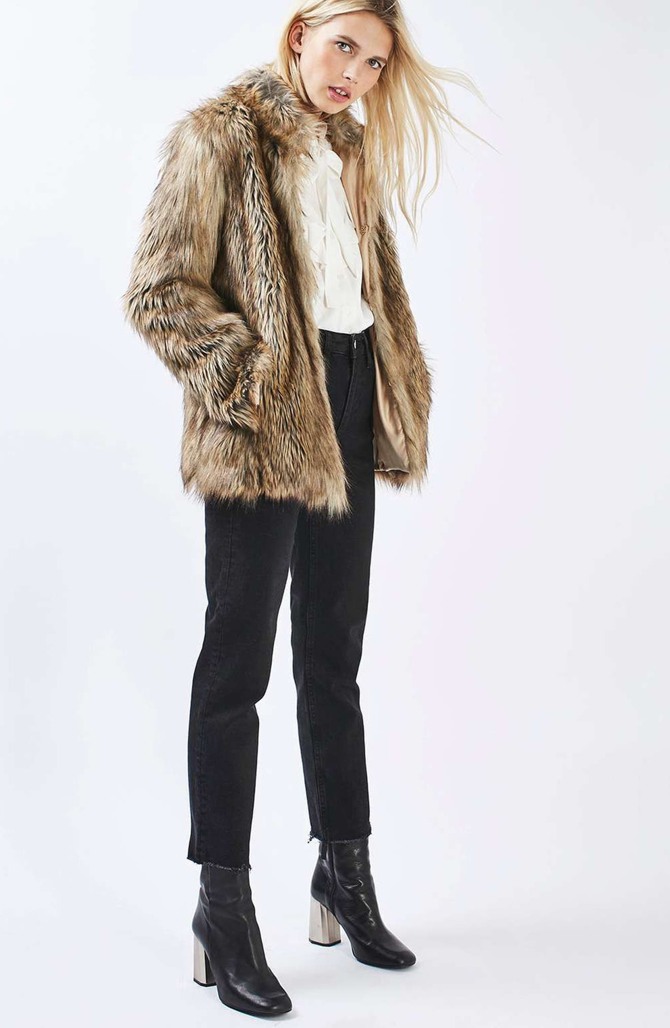 Ultimate Faux Fur Coat,                             Alternate thumbnail 7, color,                             BROWN