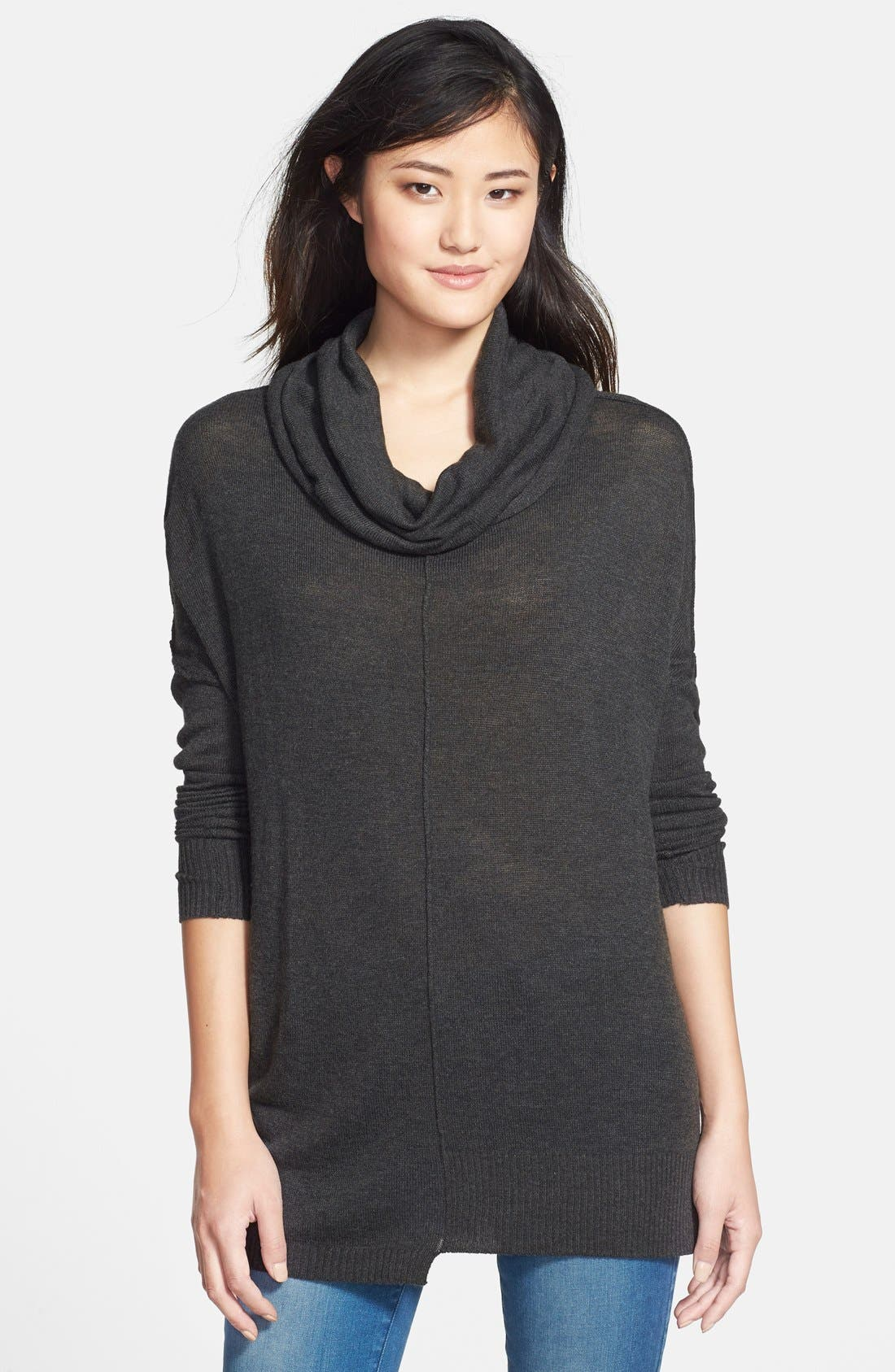 Zip Sleeve Cowl Neck Tunic Sweater, Main, color, 035