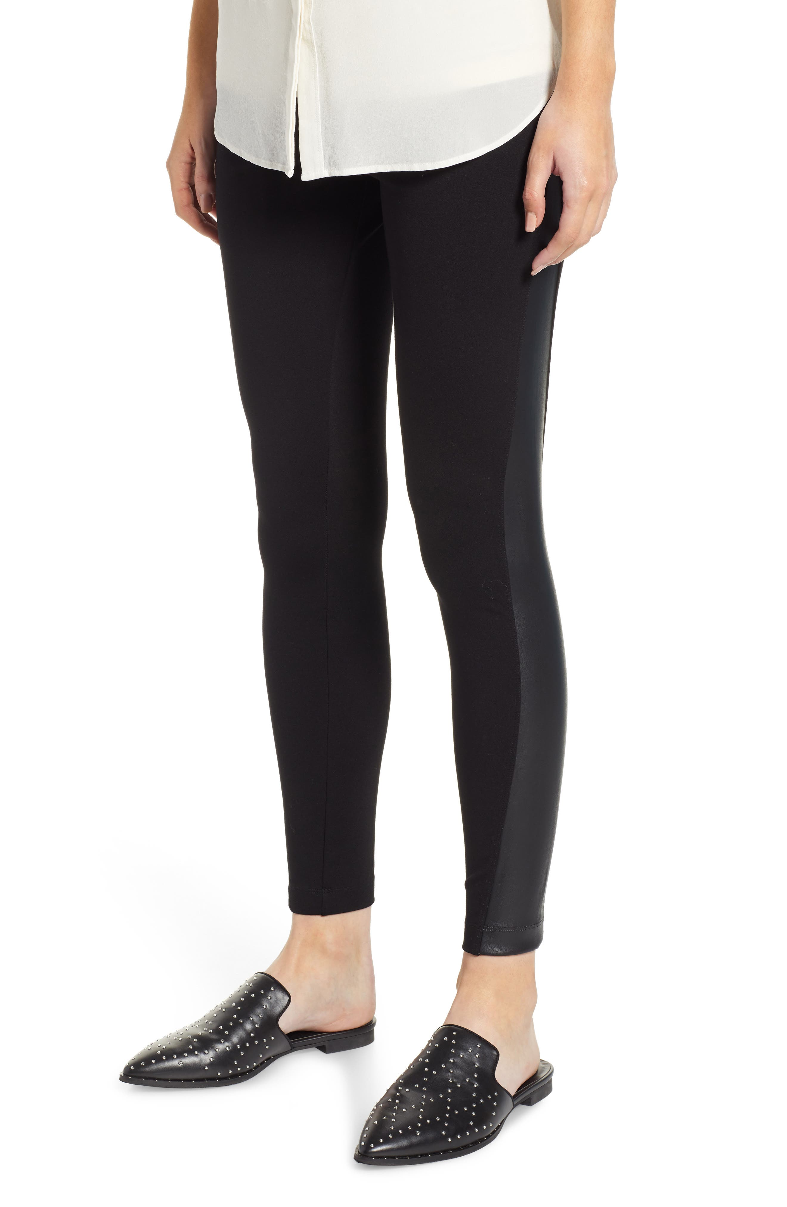 Lysse Gemma Faux-Leather Panel Ankle Leggings, Black