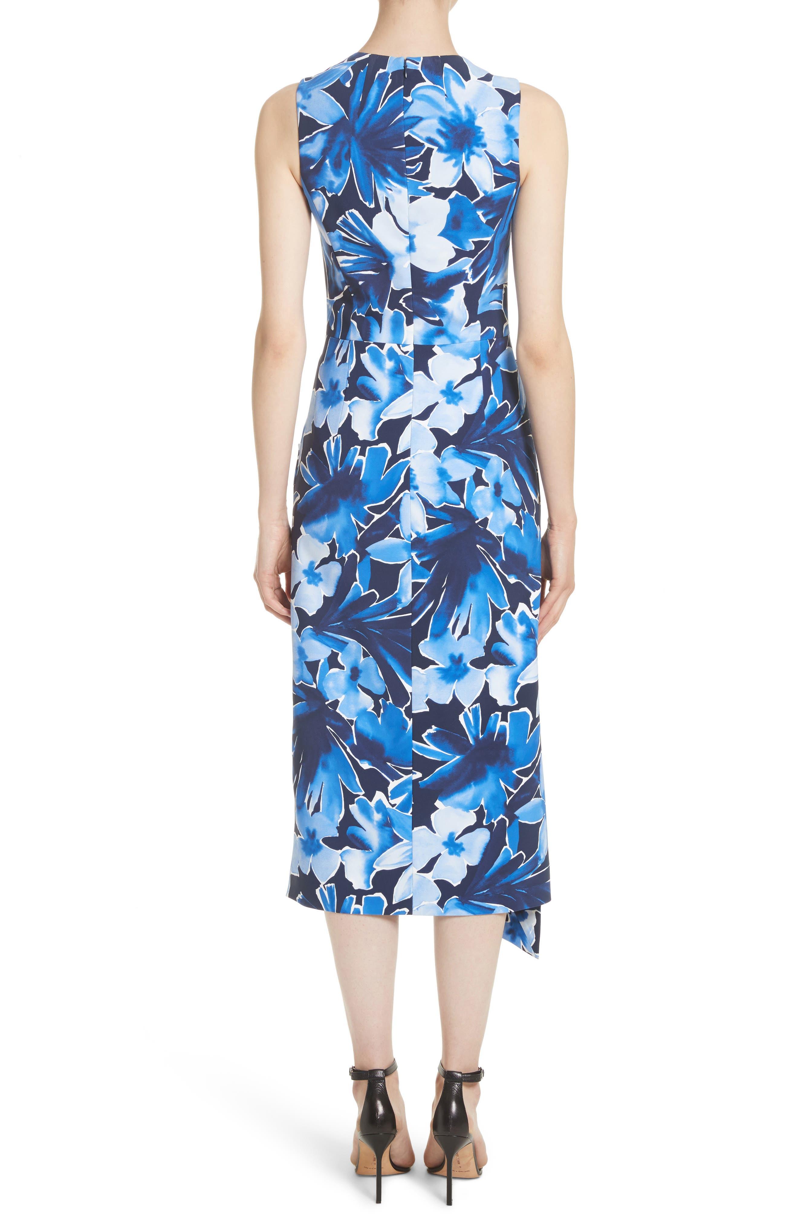 Draped Floral Print Sheath Dress,                             Alternate thumbnail 2, color,                             478