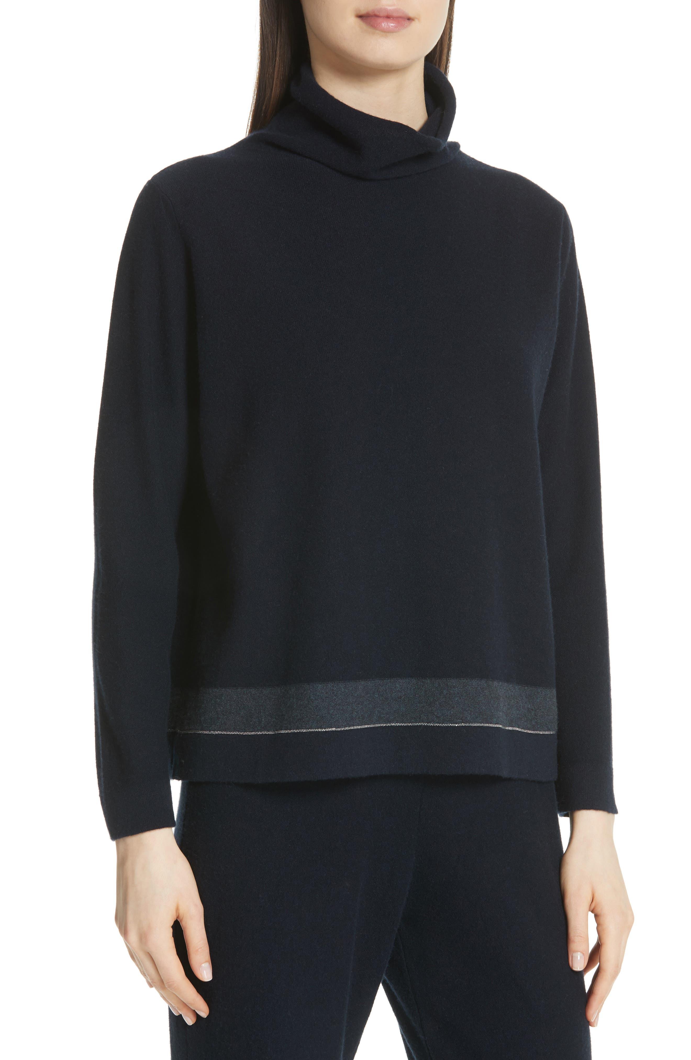 Bead Detail Cashmere Turtleneck Sweater,                             Alternate thumbnail 4, color,                             NIGHT BLUE
