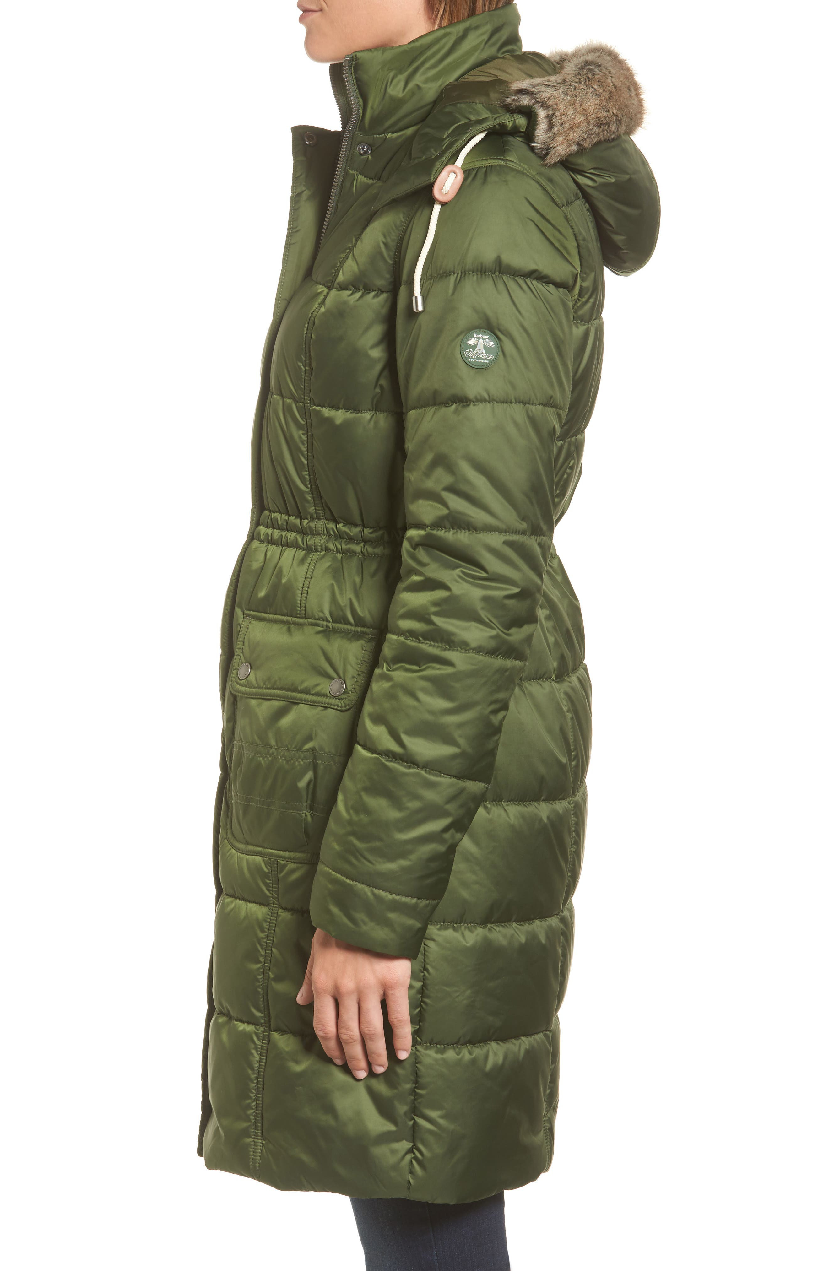 Winterton Water Resistant Hooded Quilted Jacket with Faux Fur Trim,                             Alternate thumbnail 5, color,