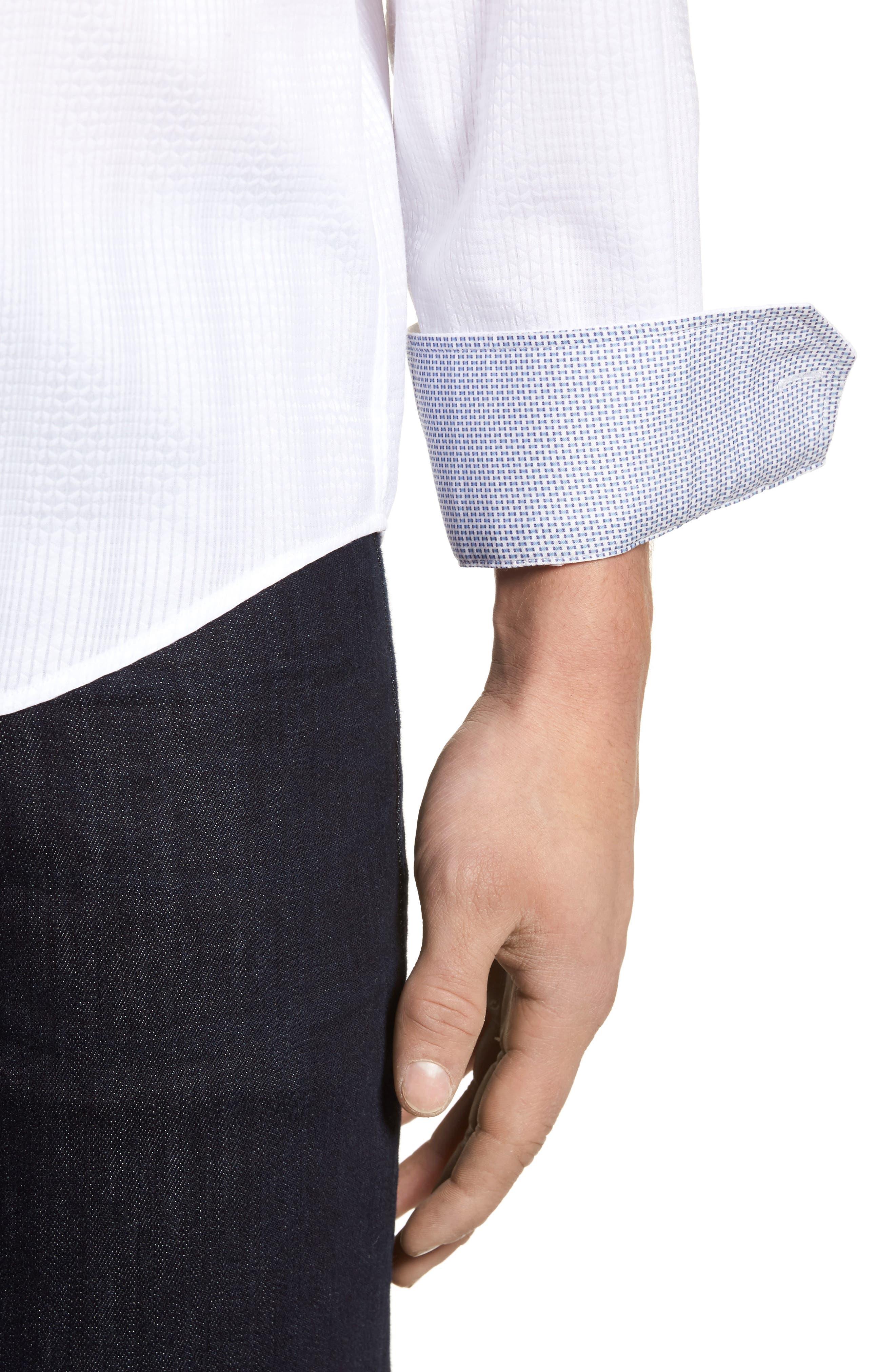 Tonal Diamond Jacquard Classic Fit Sport Shirt,                             Alternate thumbnail 4, color,                             100