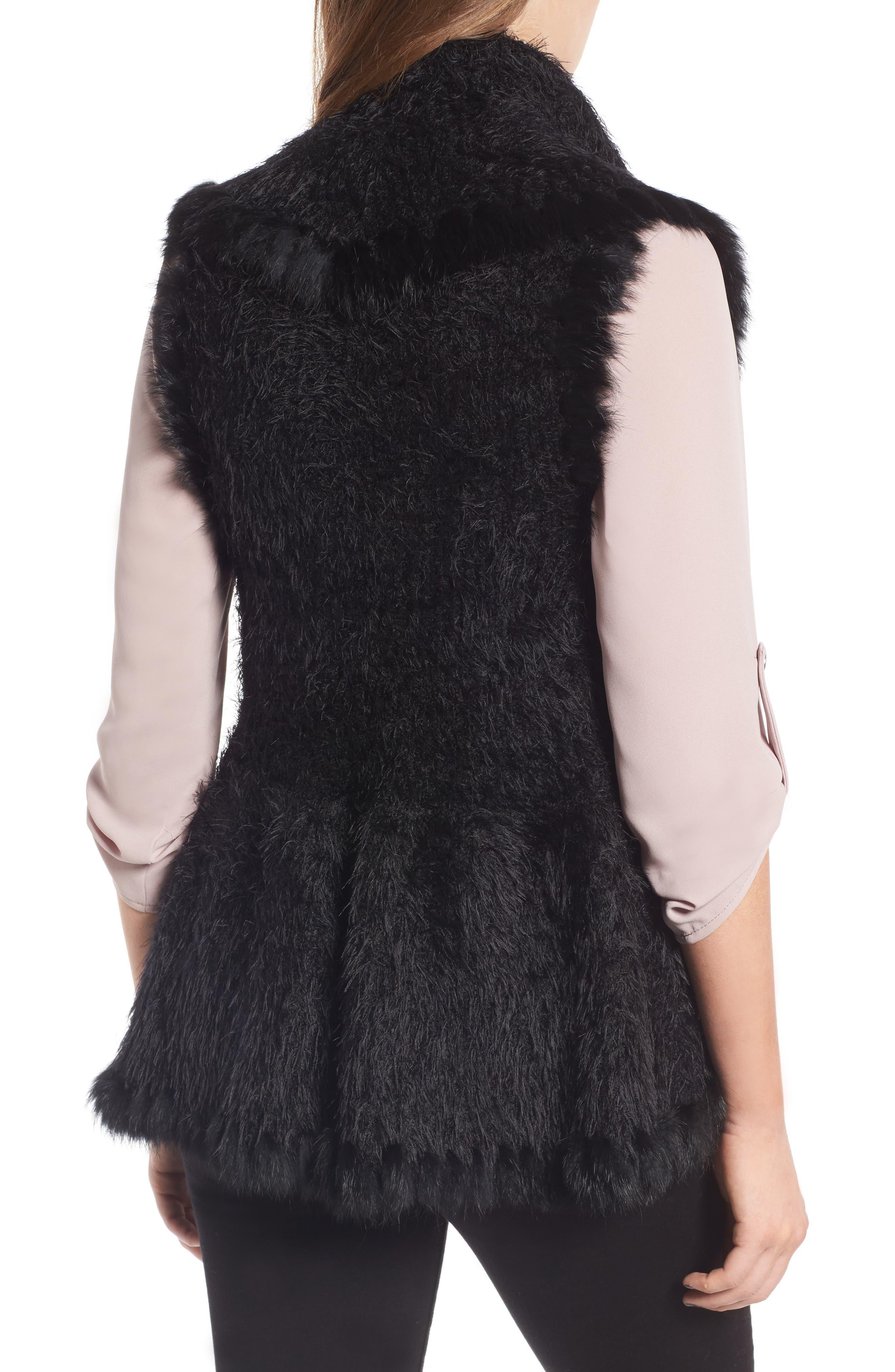 Knit Vest with Genuine Rabbit Fur Trim,                             Alternate thumbnail 4, color,