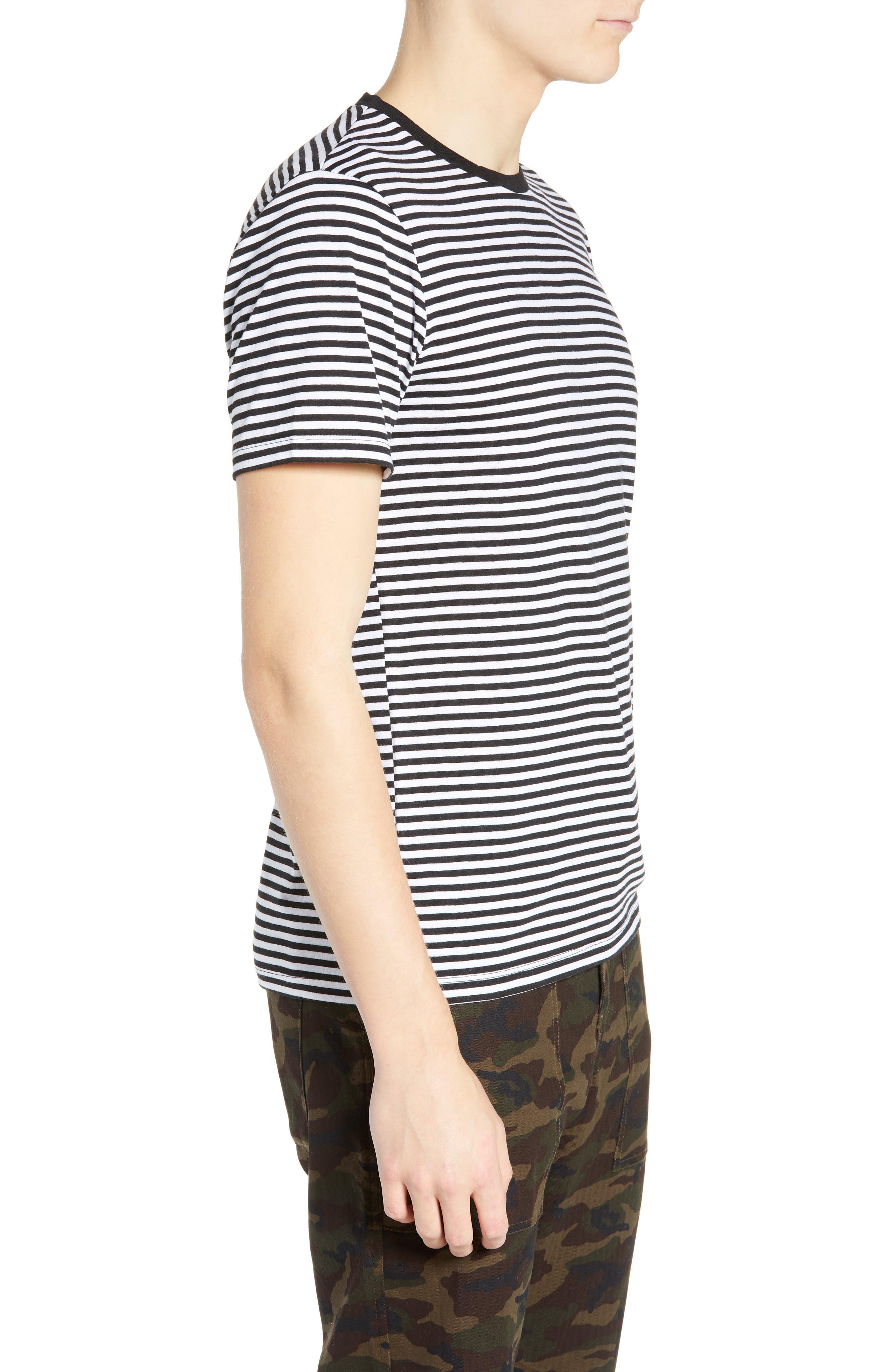 Stripe Crewneck T-Shirt,                             Alternate thumbnail 3, color,                             BLACK ROCK - WHITE STRIPE
