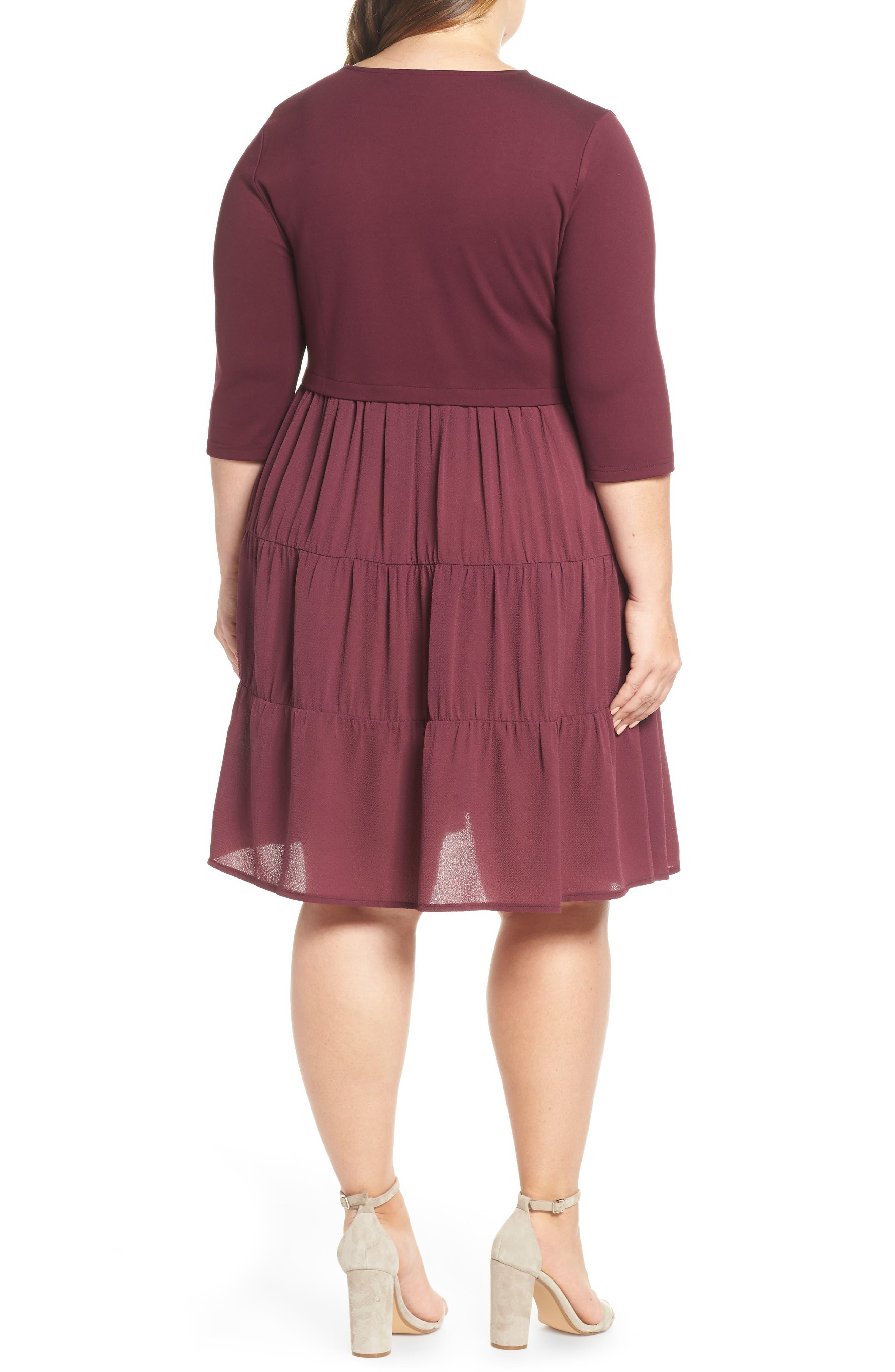 Mixed Media Ruffle Detail Swing Dress,                             Alternate thumbnail 2, color,                             BURGUNDY