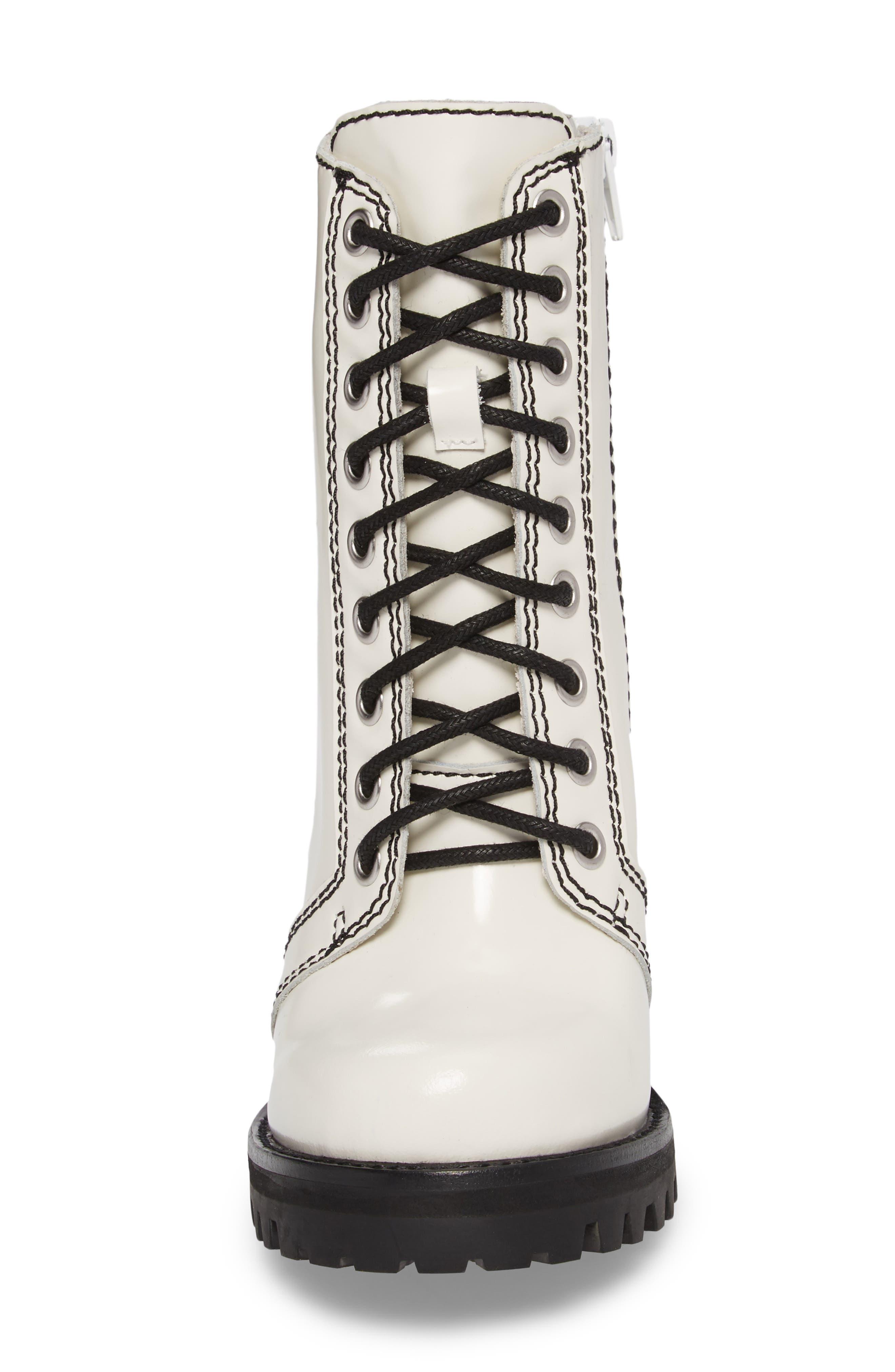 'Legion' High Heel Boot,                             Alternate thumbnail 4, color,                             WHITE BOX BLACK