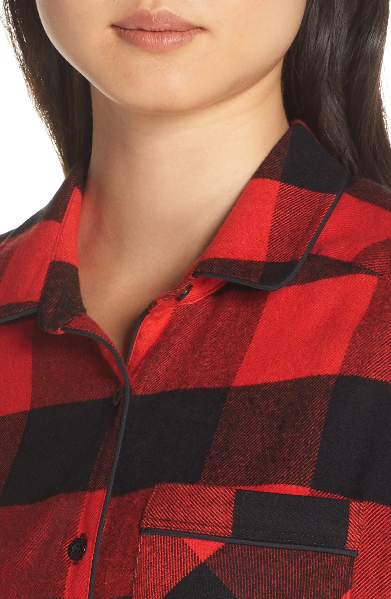 Flannel Nightshirt,                             Alternate thumbnail 4, color,                             RED BLOOM LARGE BUFFALO CHECK