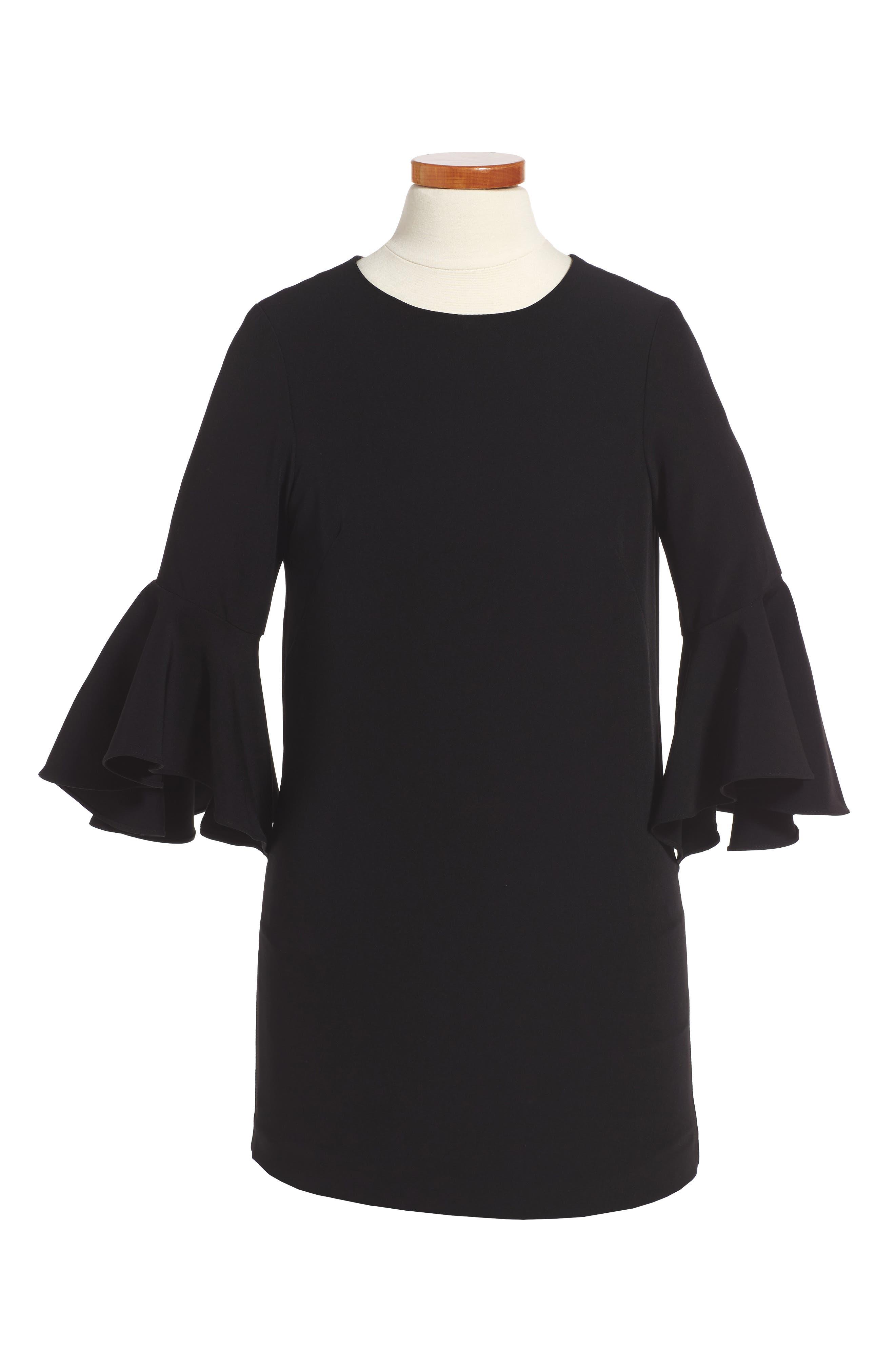 Italian Cady Nicola Dress,                             Alternate thumbnail 3, color,                             001