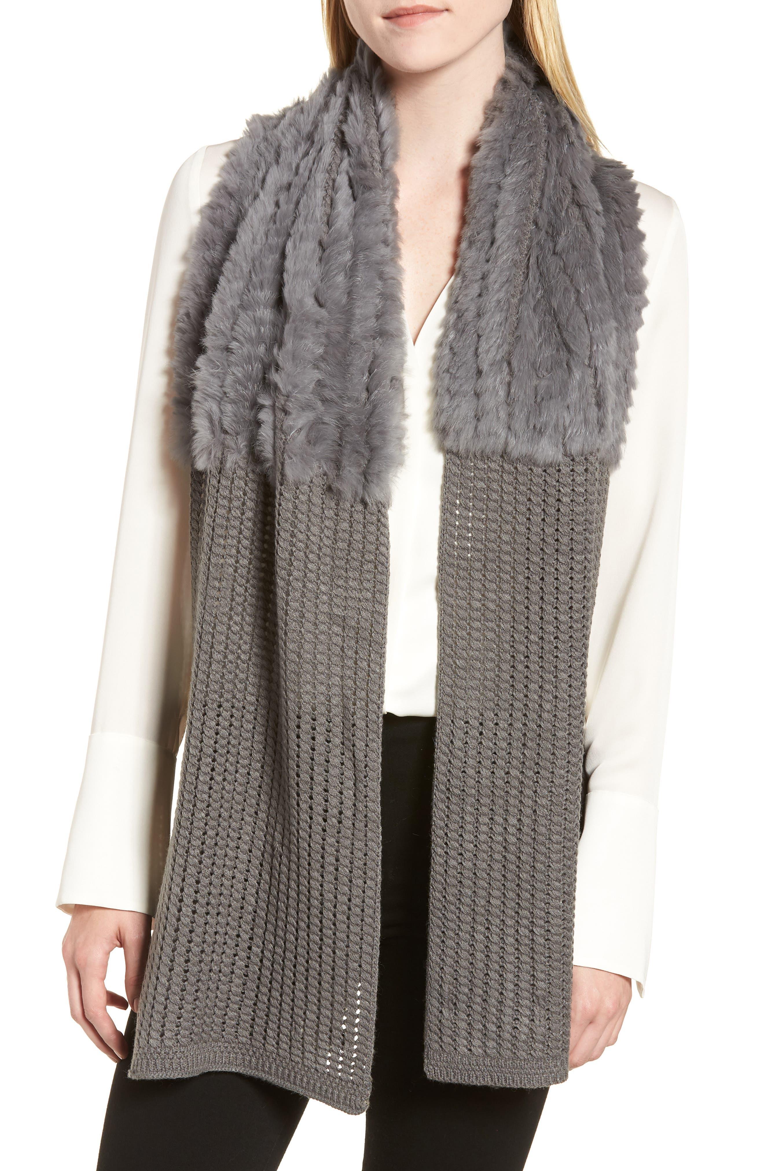 Genuine Rabbit Fur & Acrylic Knit Scarf,                             Main thumbnail 1, color,                             GREY