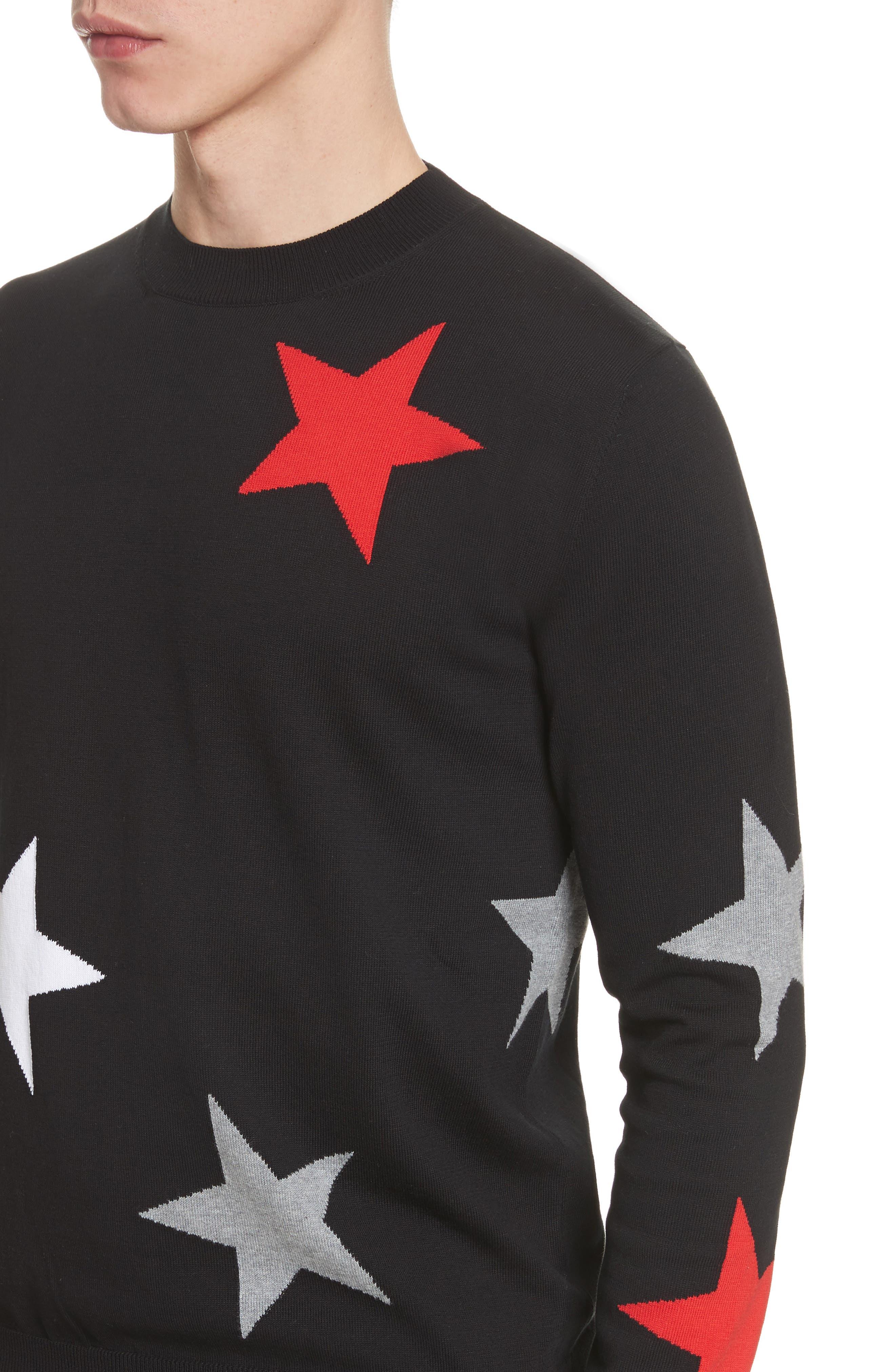 Star Crewneck Sweater,                             Alternate thumbnail 4, color,                             001