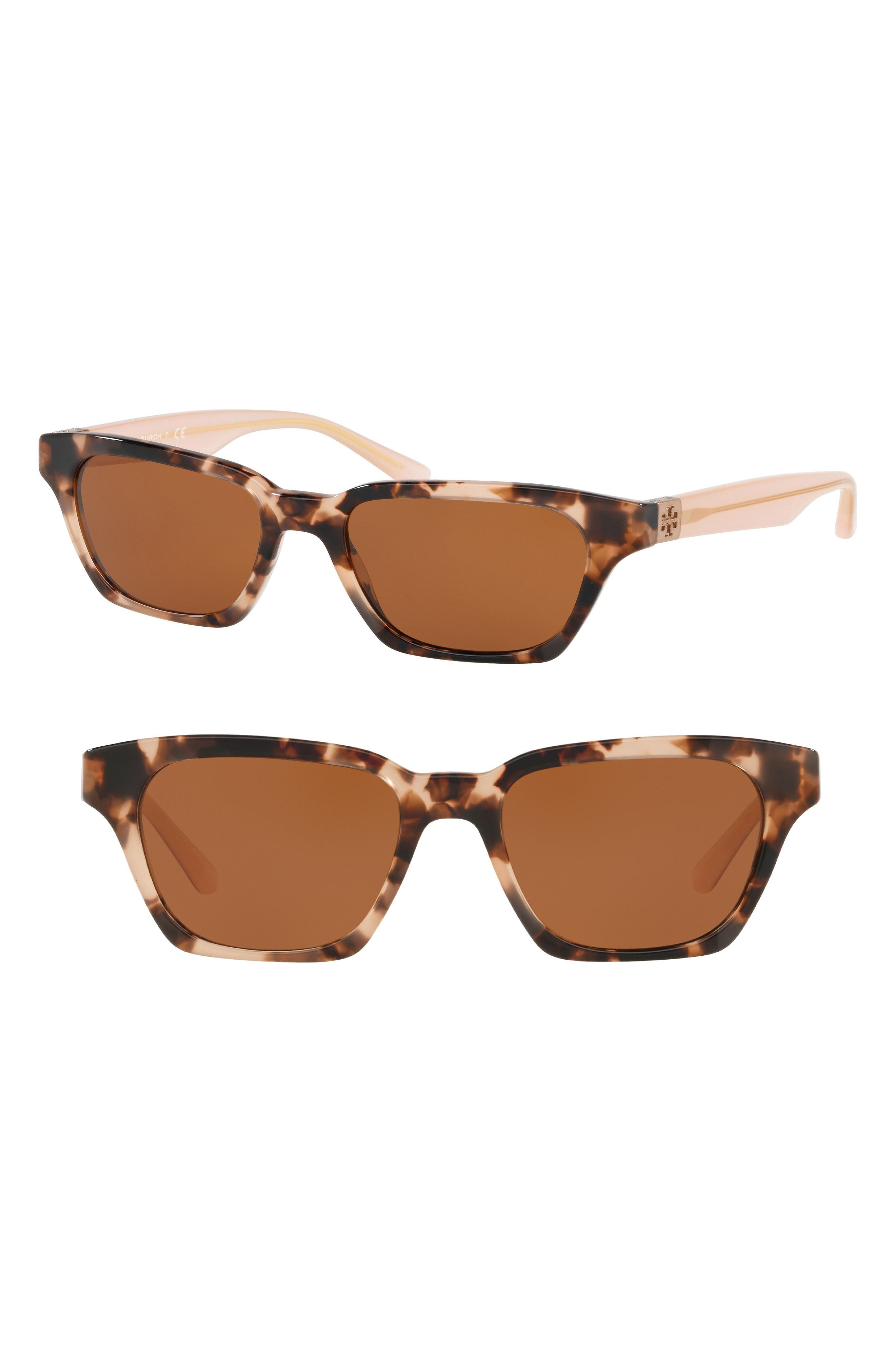 Classic Stacked 51mm Sunglasses,                             Main thumbnail 1, color,                             PINK TORTOISE