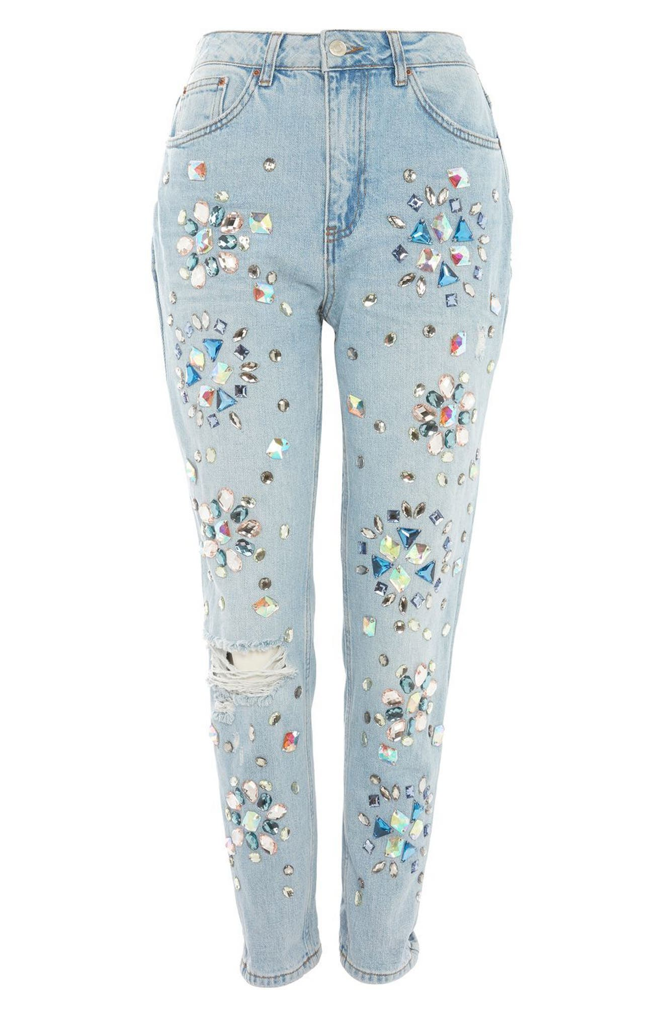 Limited Edition Beaded Mom Jeans,                             Alternate thumbnail 4, color,                             401