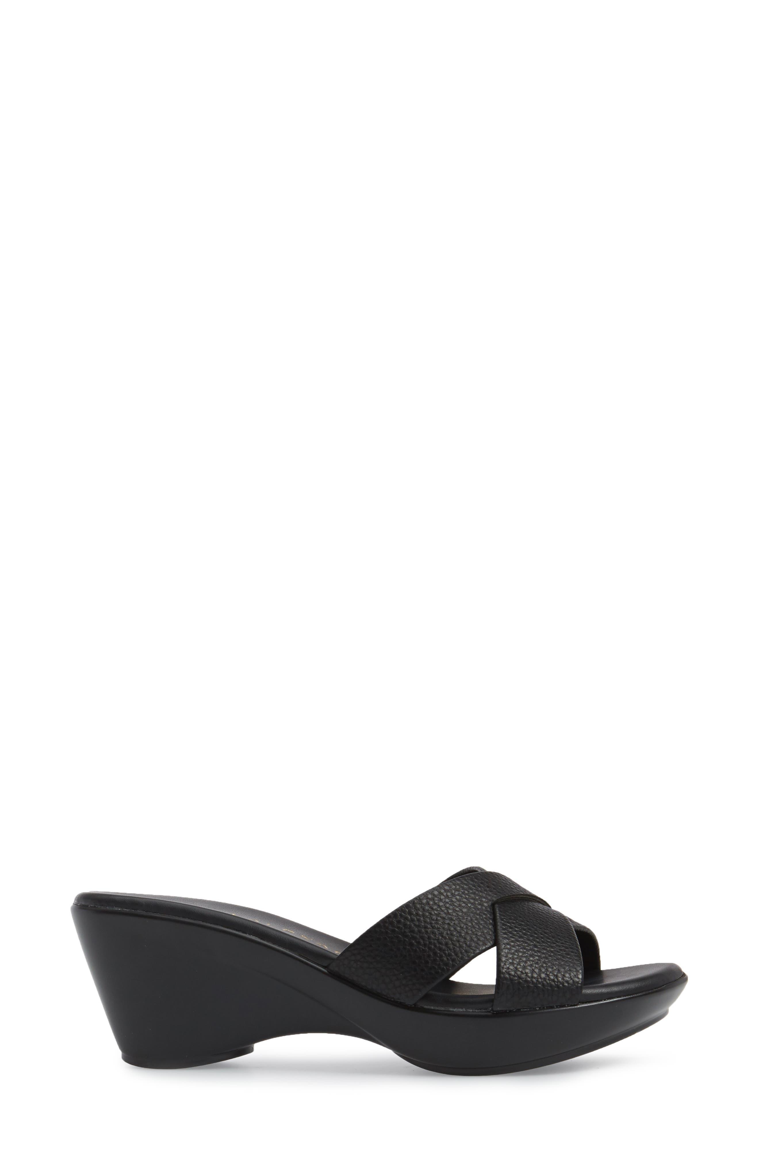 Verna Wedge Slide Sandal,                             Alternate thumbnail 3, color,                             001