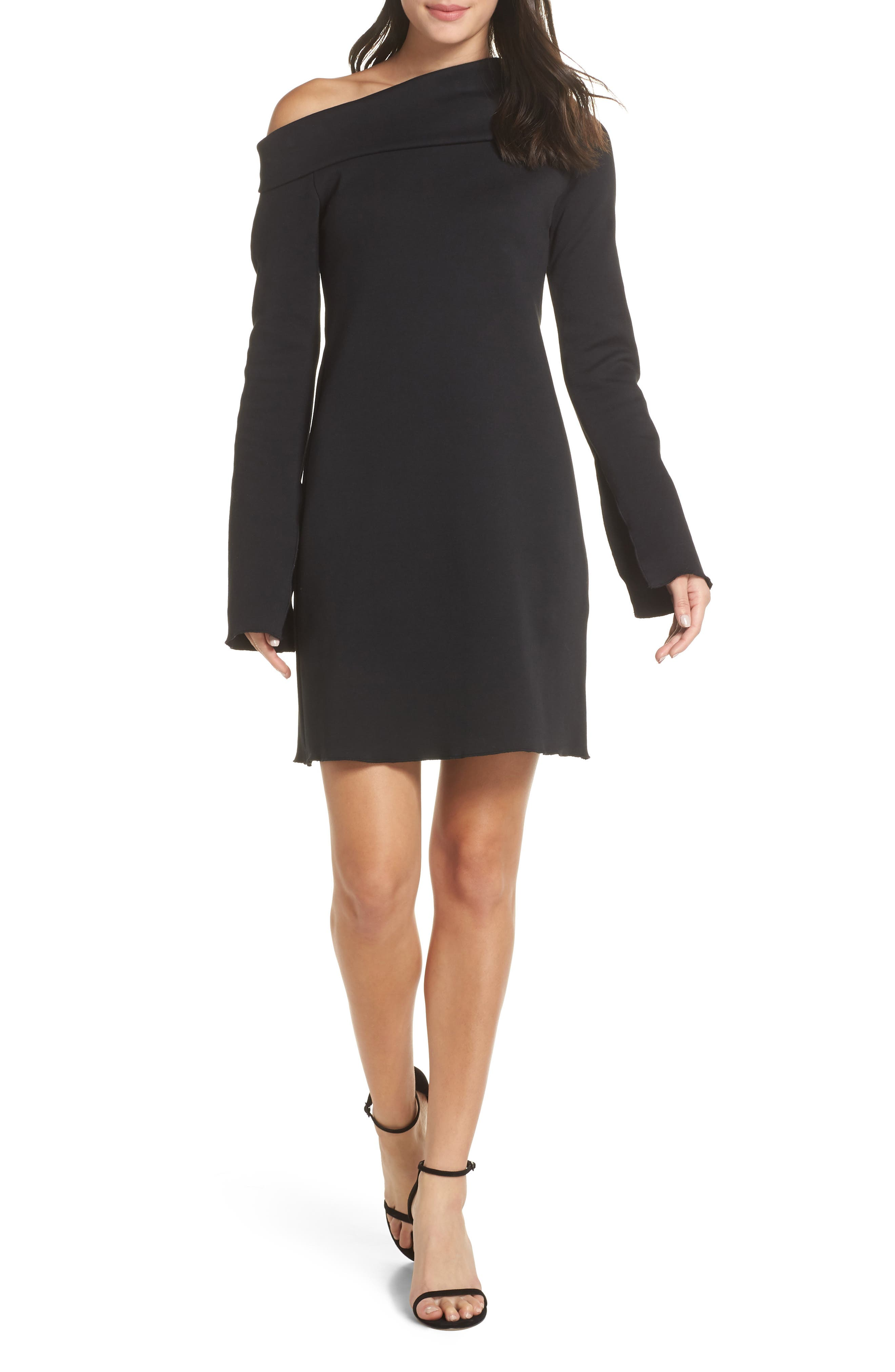 Grant One-Shoulder Bell Sleeve Shift Dress,                             Main thumbnail 1, color,                             BLACK