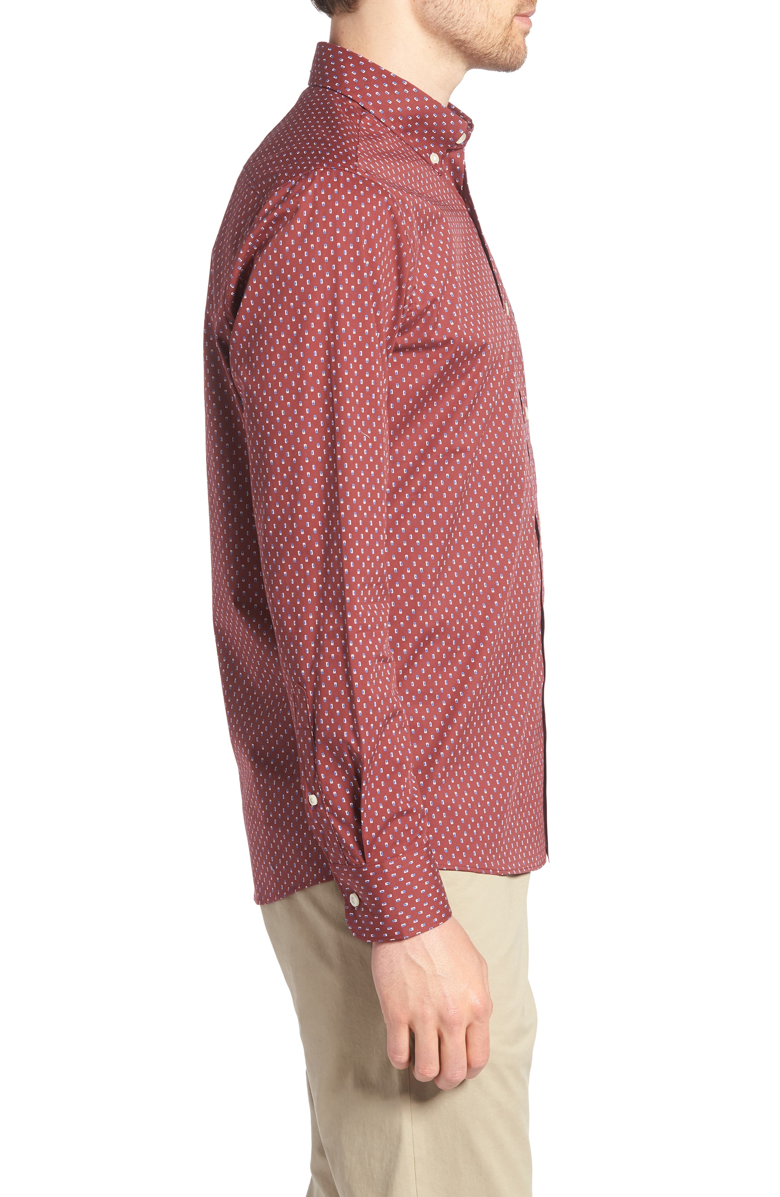 Trim Fit Box Print Sport Shirt,                             Alternate thumbnail 3, color,