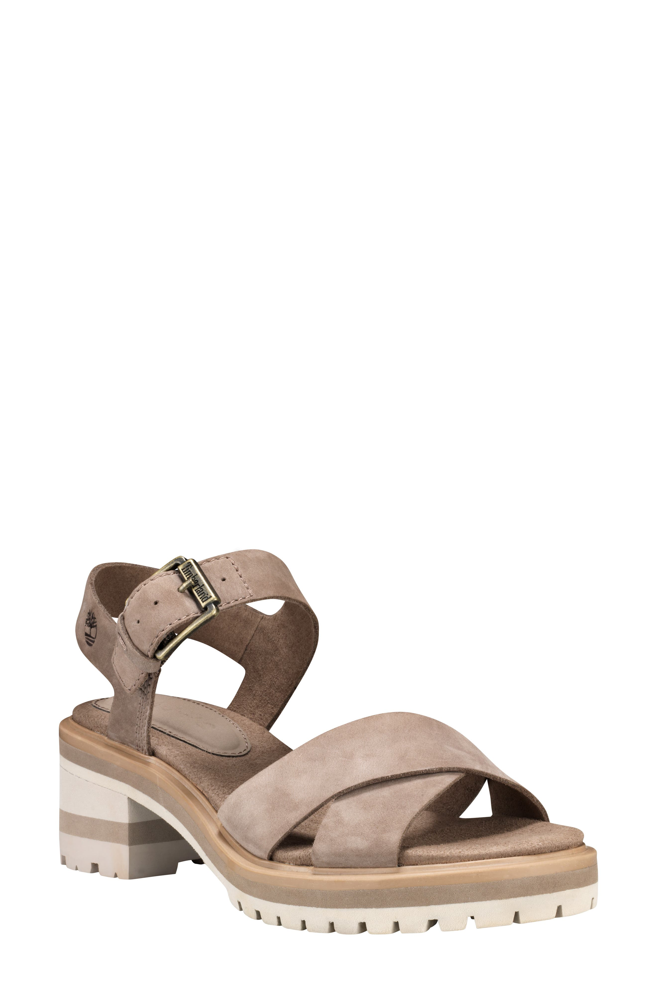 TIMBERLAND,                             Violet March Crisscross Sandal,                             Main thumbnail 1, color,                             TAUPE NUBUCK LEATHER
