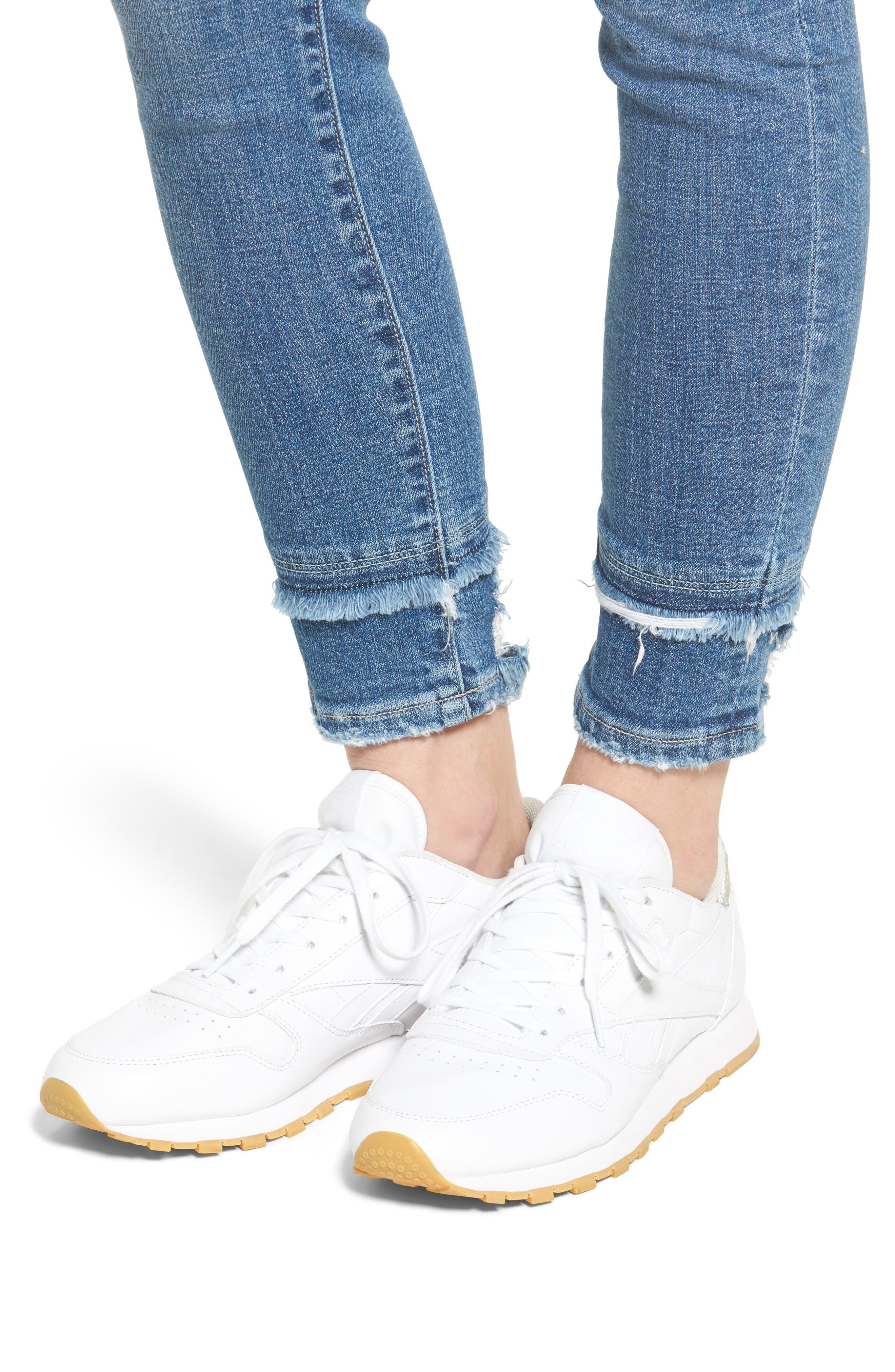 Double Hem Skinny Jeans,                             Alternate thumbnail 4, color,                             400