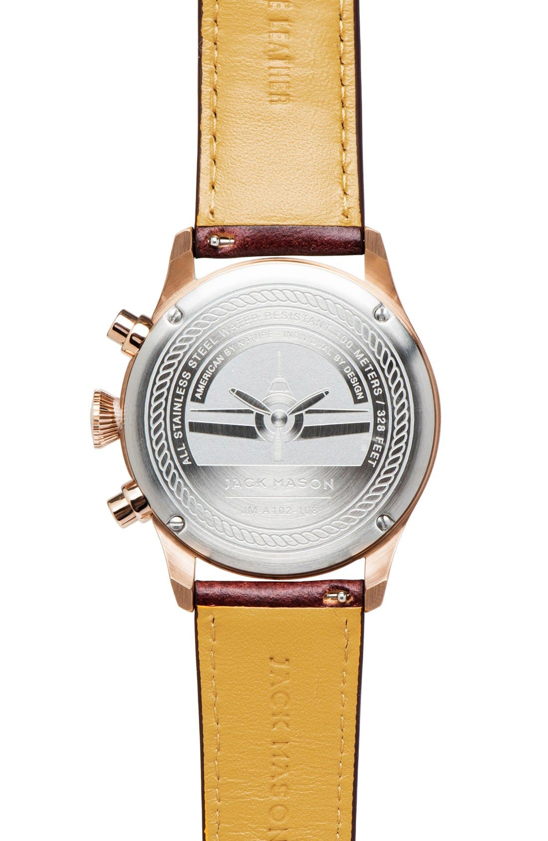 Chronograph Leather Strap Watch, 42mm,                             Alternate thumbnail 2, color,                             BROWN/ GREY