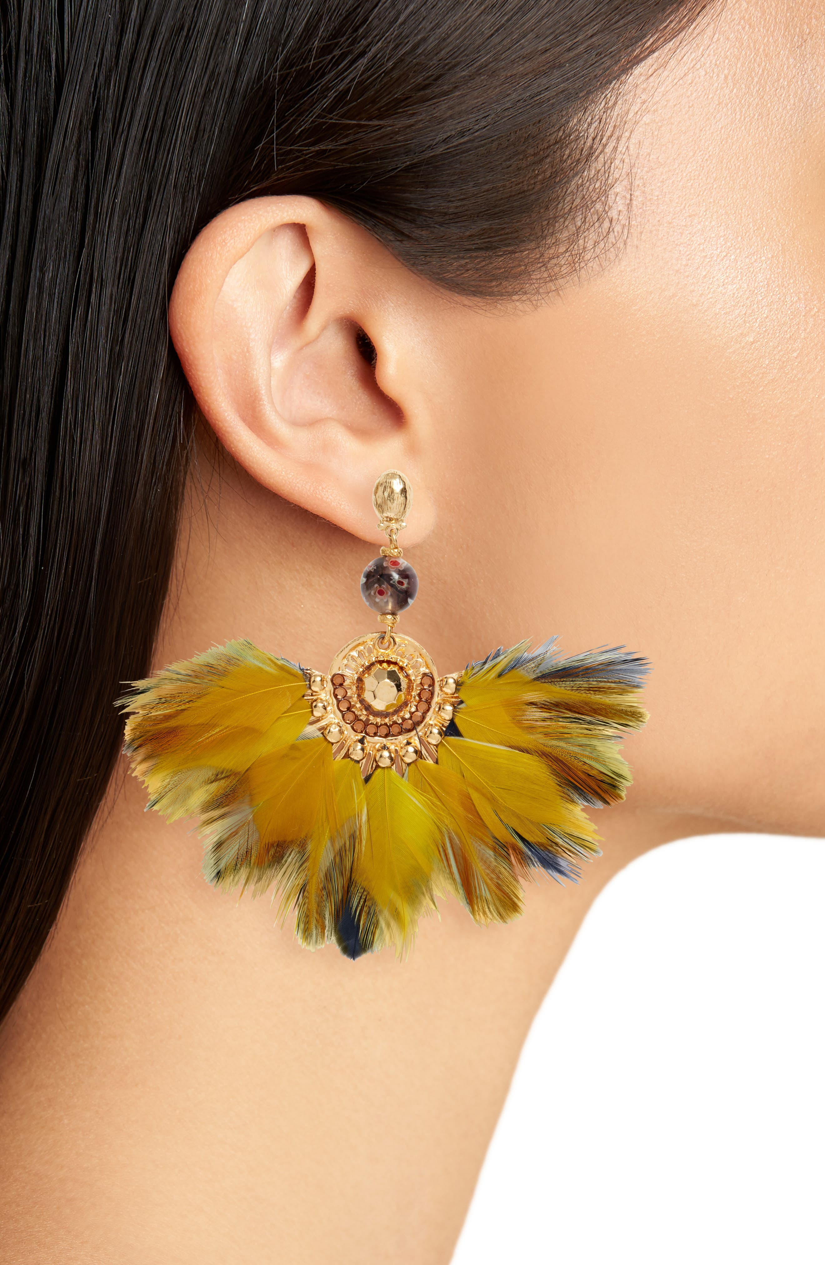 Gaia Feather Drop Earrings,                             Alternate thumbnail 2, color,                             YELLOW