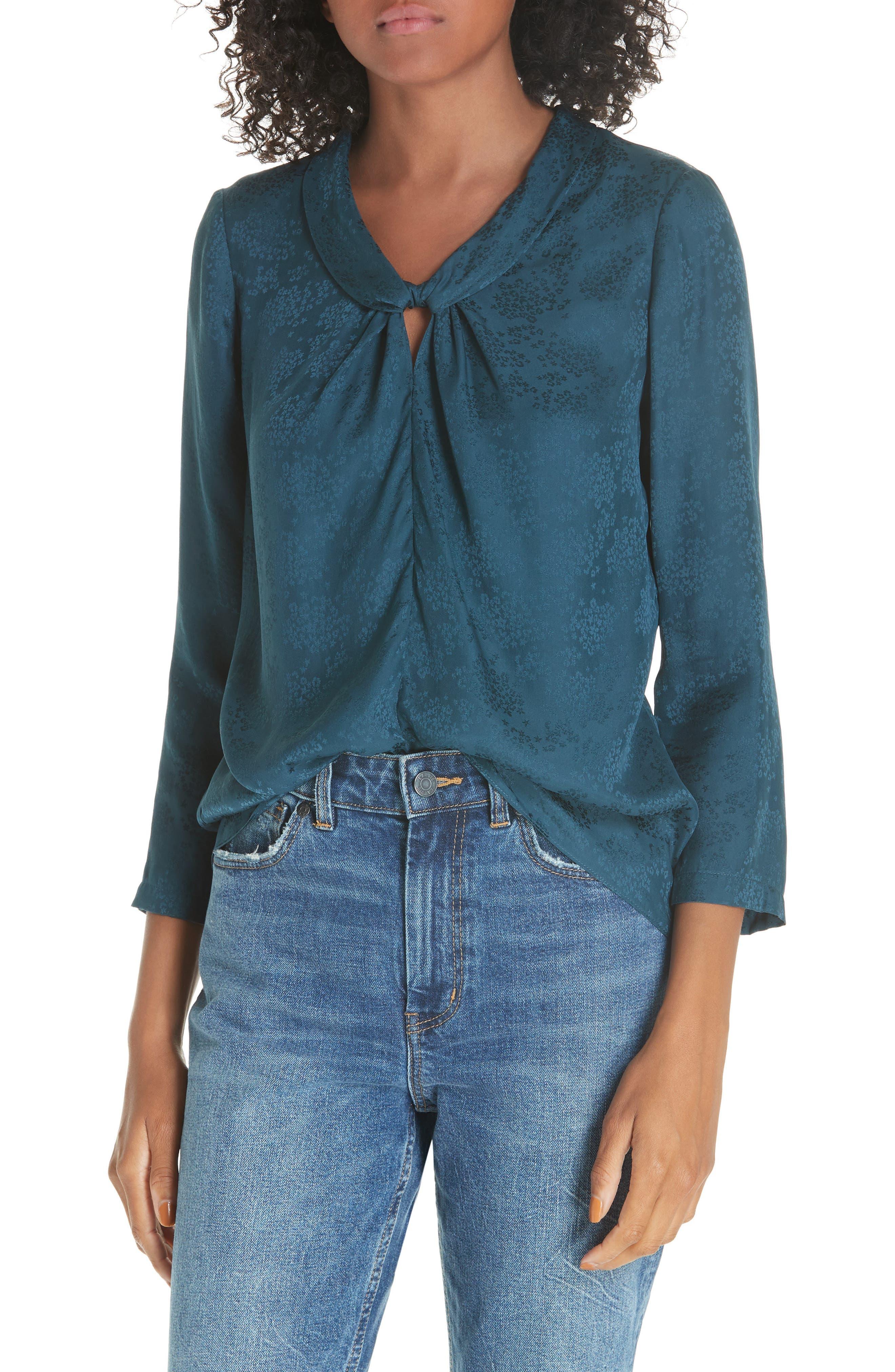 Silk Jacquard Top,                         Main,                         color, 440