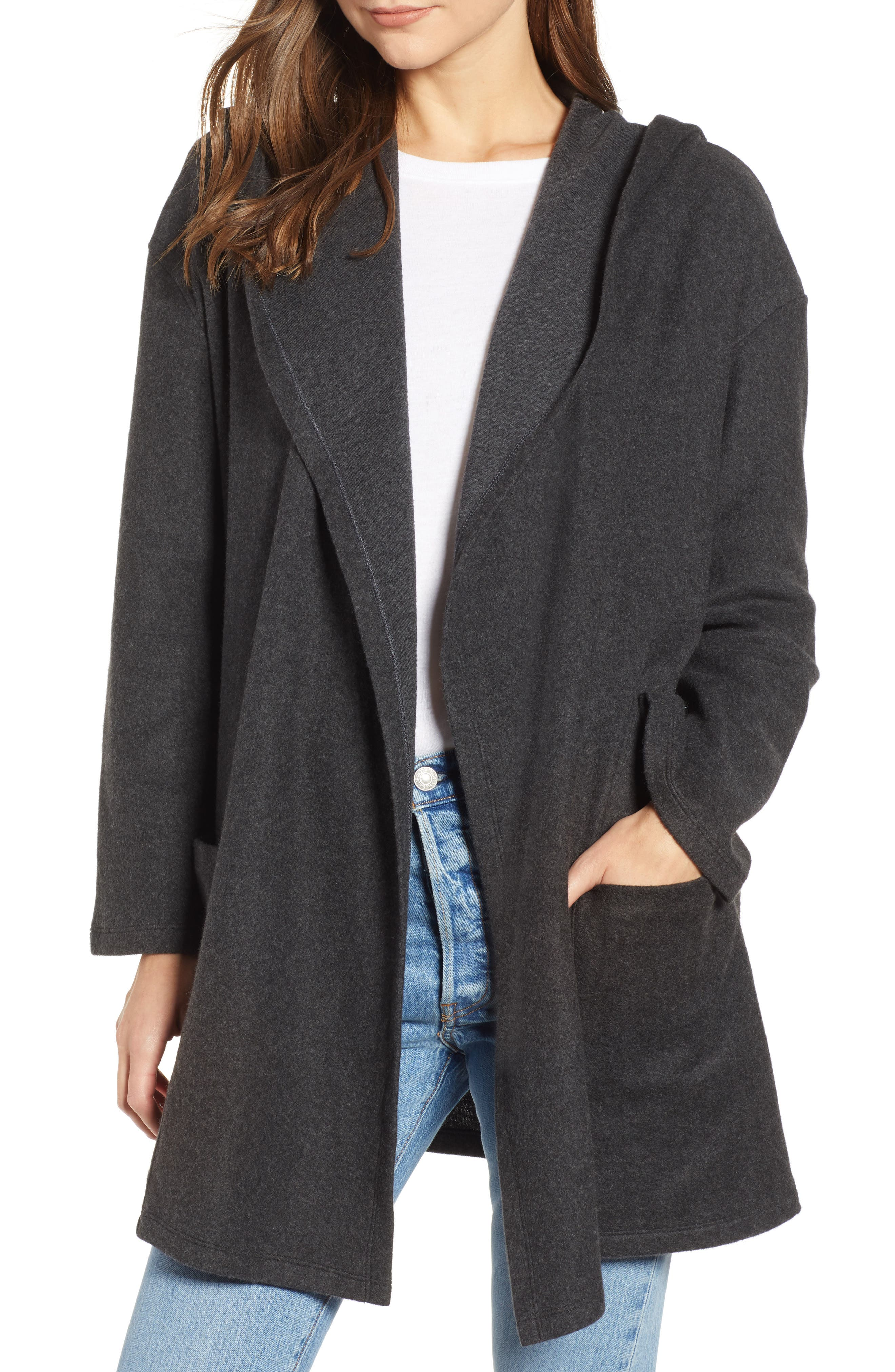 Hooded Open Front Cardigan,                             Main thumbnail 1, color,                             GREY DARK CHARCOAL HEATHER