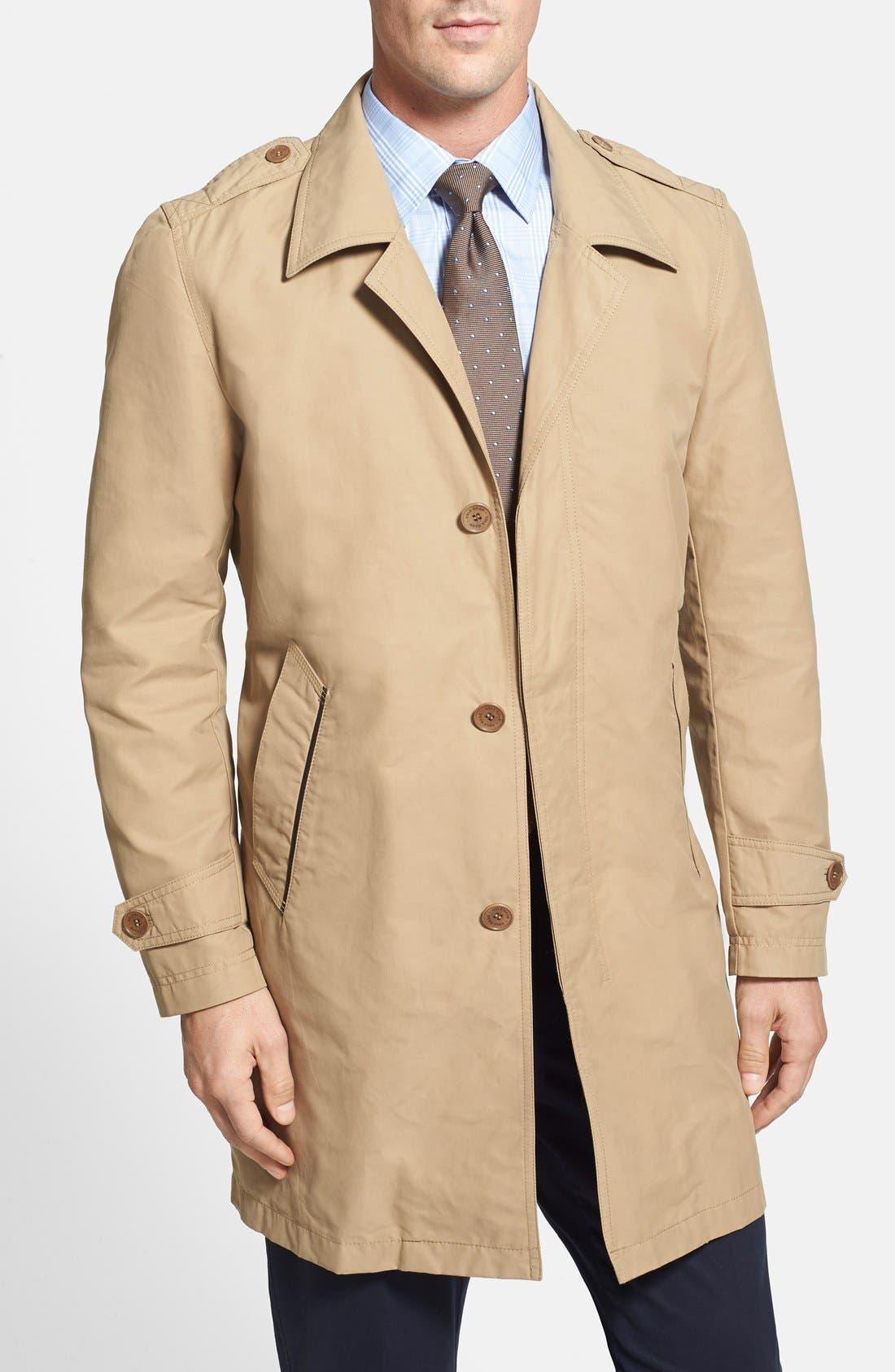 COLE HAAN Cotton Blend Twill Car Coat, Main, color, 258