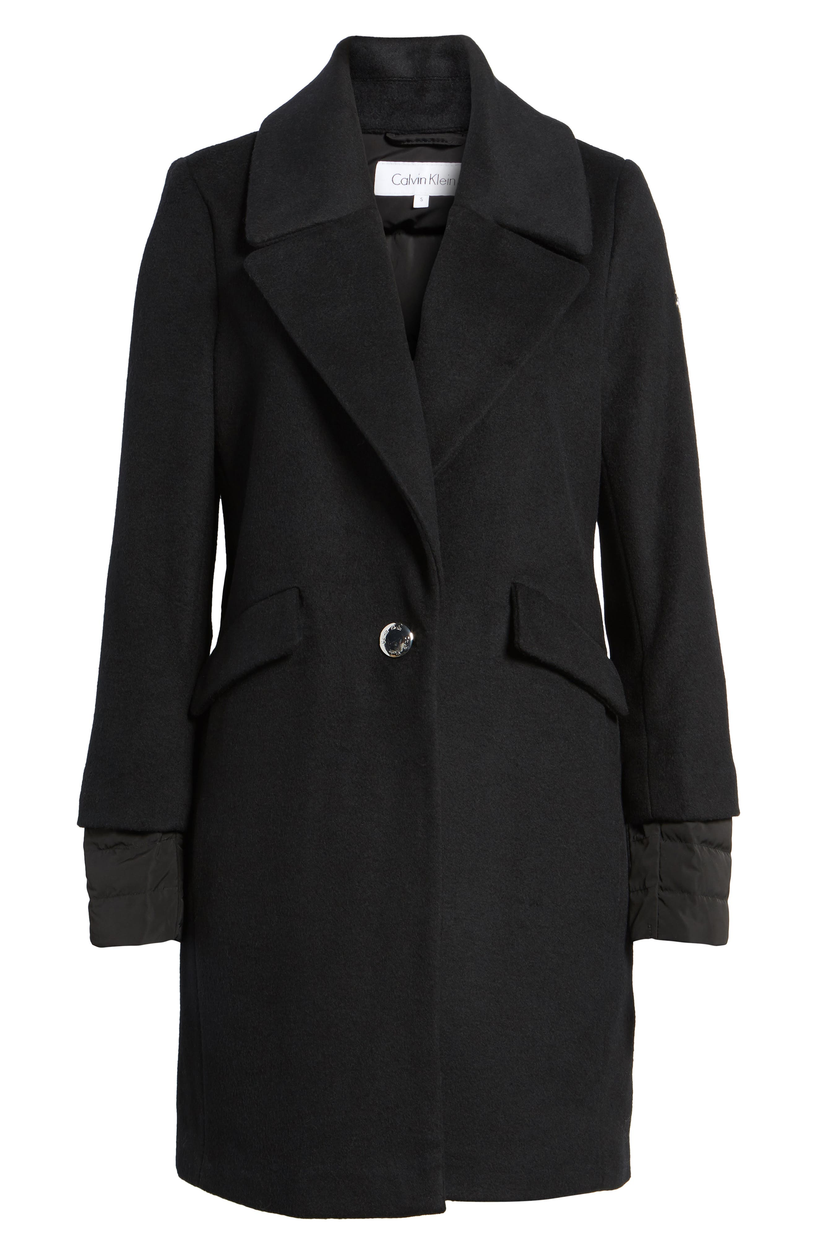 Wool & Down Reefer Coat,                             Alternate thumbnail 5, color,                             001