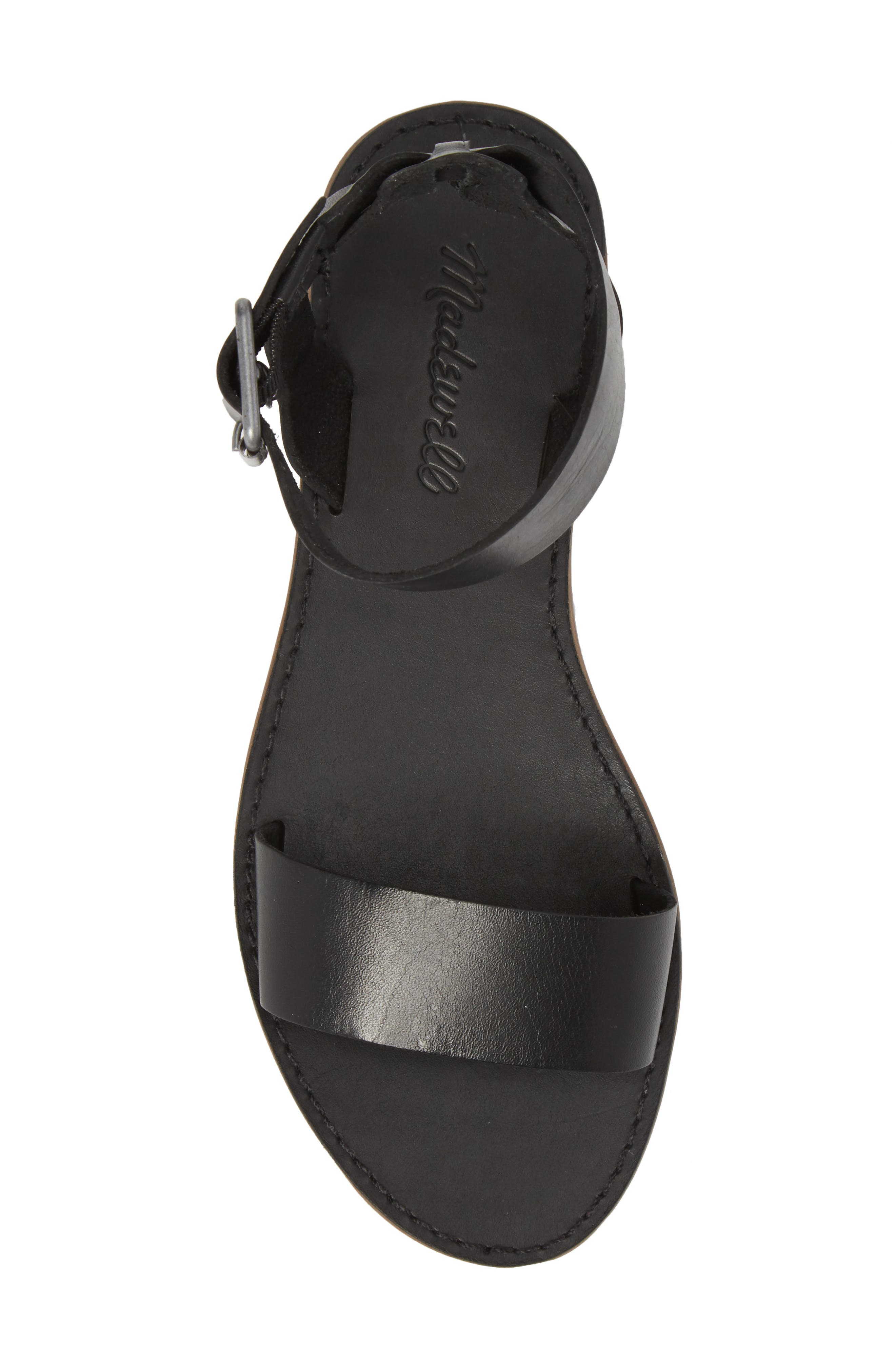 The Boardwalk Ankle Strap Sandal,                             Alternate thumbnail 5, color,                             TRUE BLACK LEATHER
