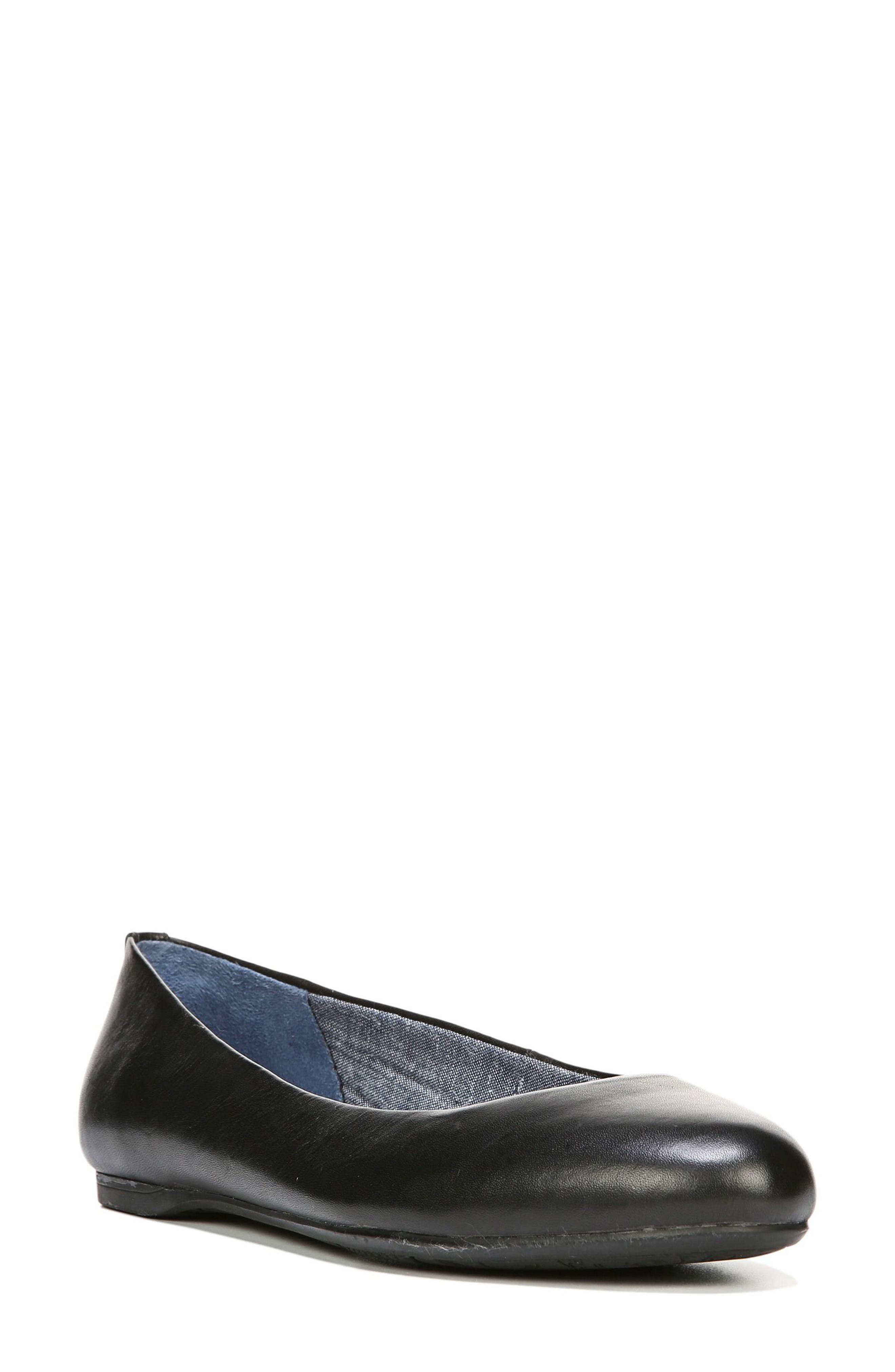 Giorgie Flat,                         Main,                         color, BLACK LEATHER