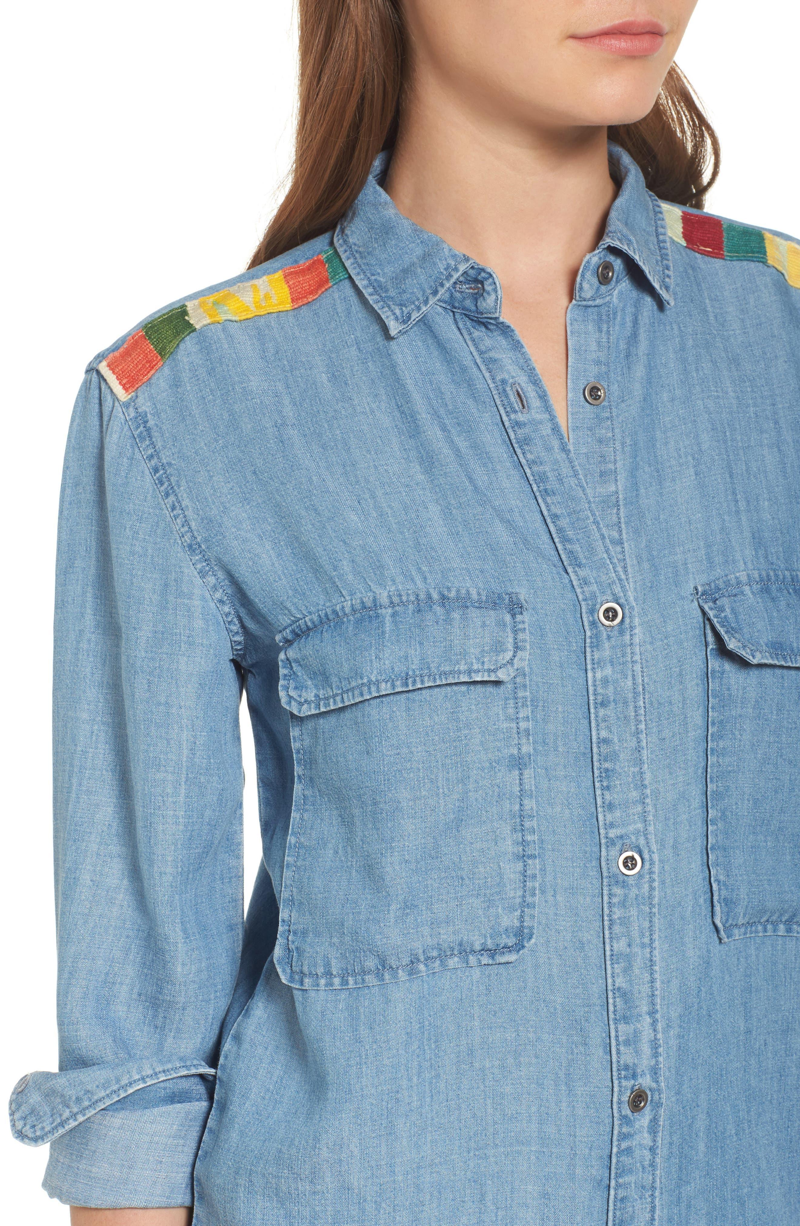 Jimi Chambray Shirt,                             Alternate thumbnail 4, color,                             493