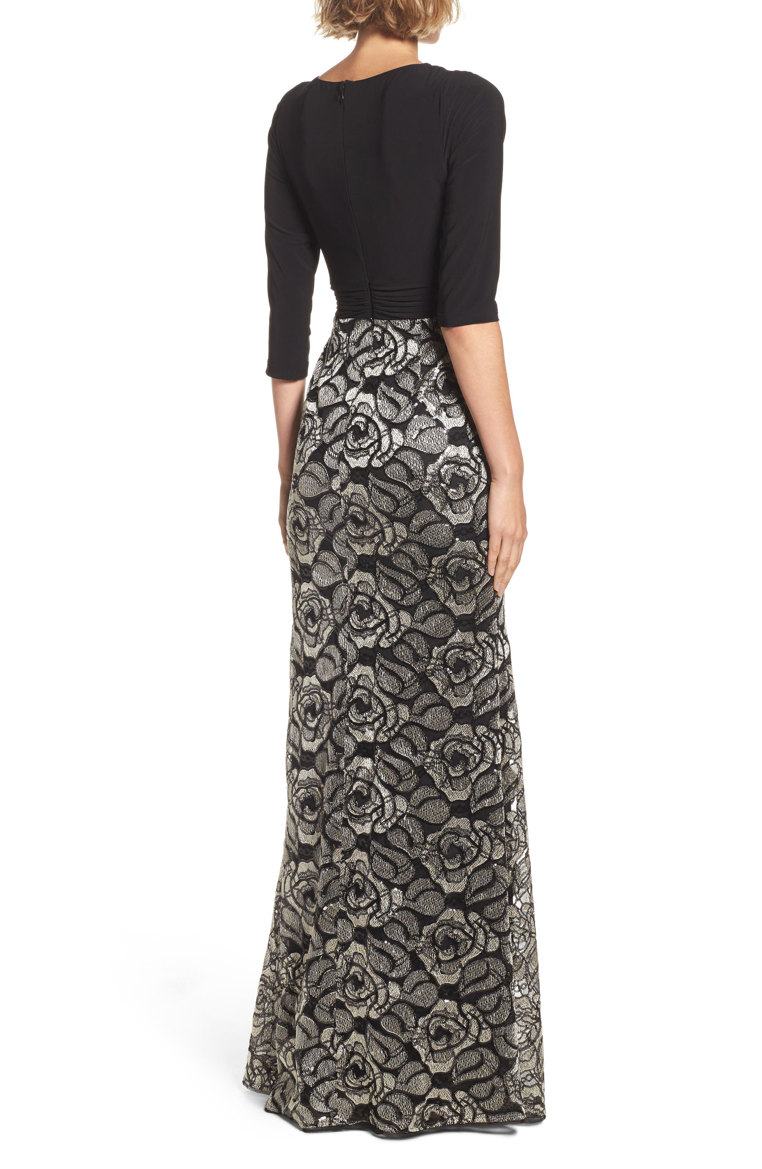 Cowl Neck Rose Lace Gown,                             Alternate thumbnail 2, color,                             018