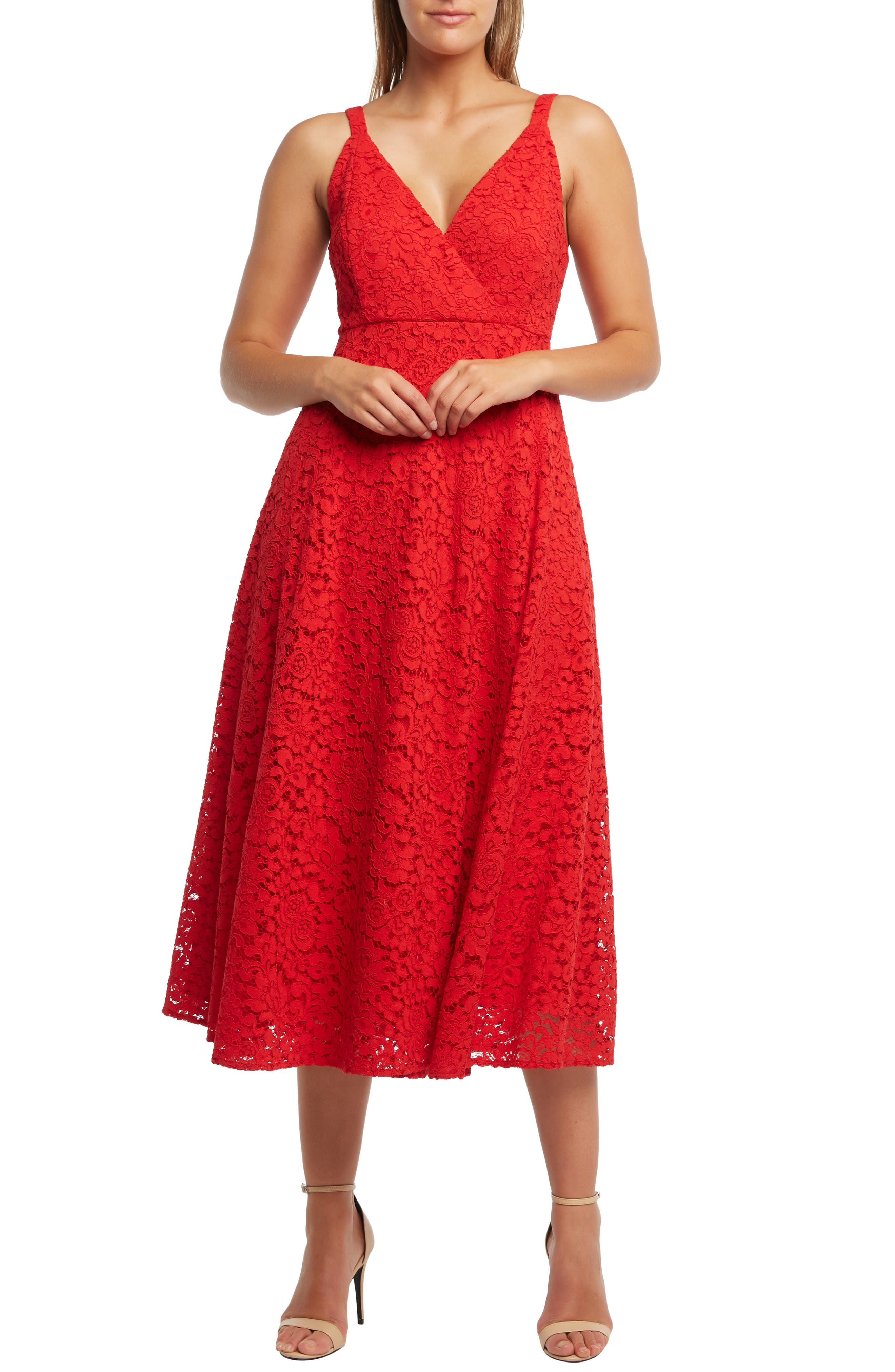 Bardot Genoveve Lace Midi Dress, Red
