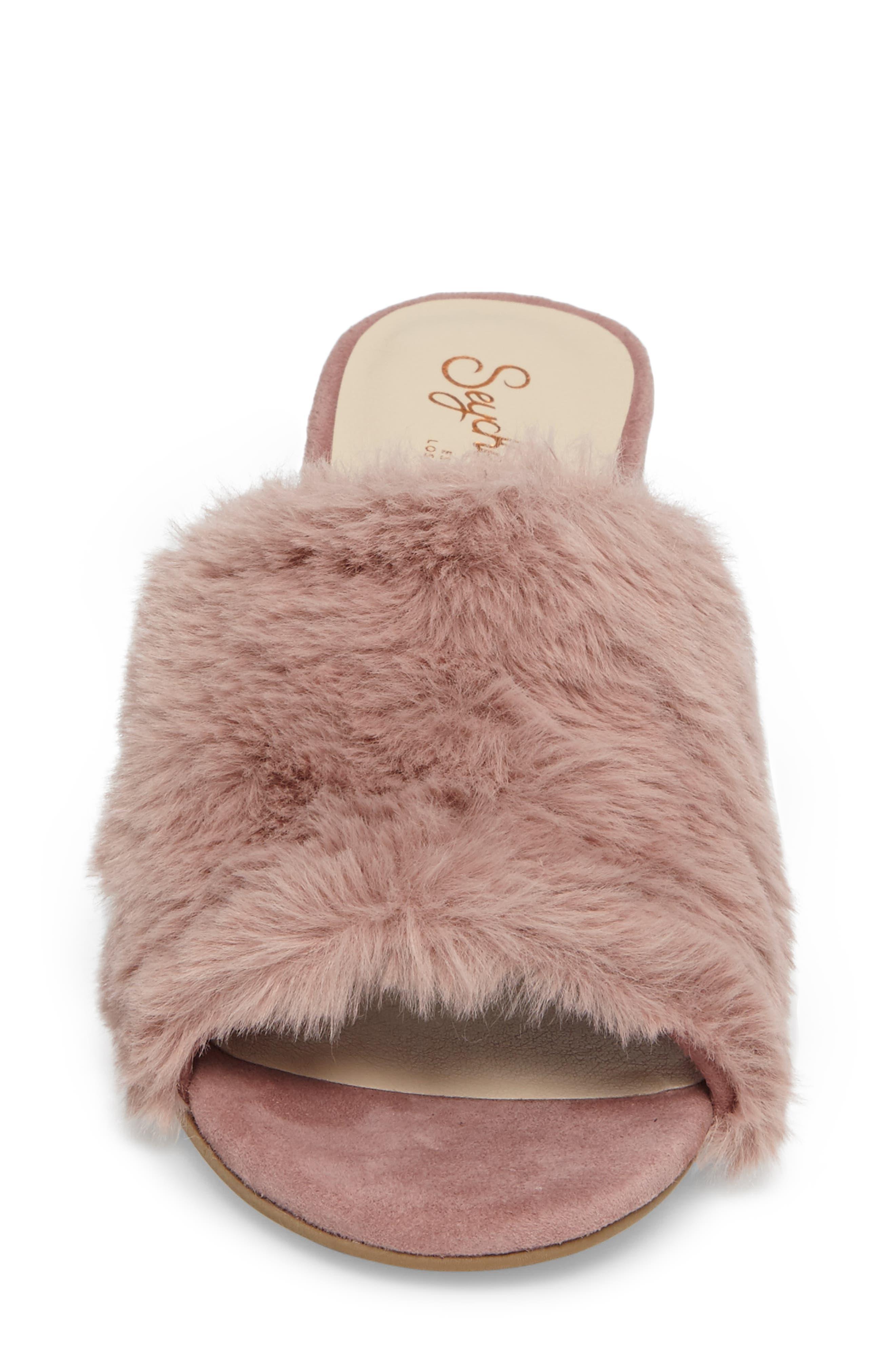 Nobody Else Faux Fur Slide Sandal,                             Alternate thumbnail 8, color,