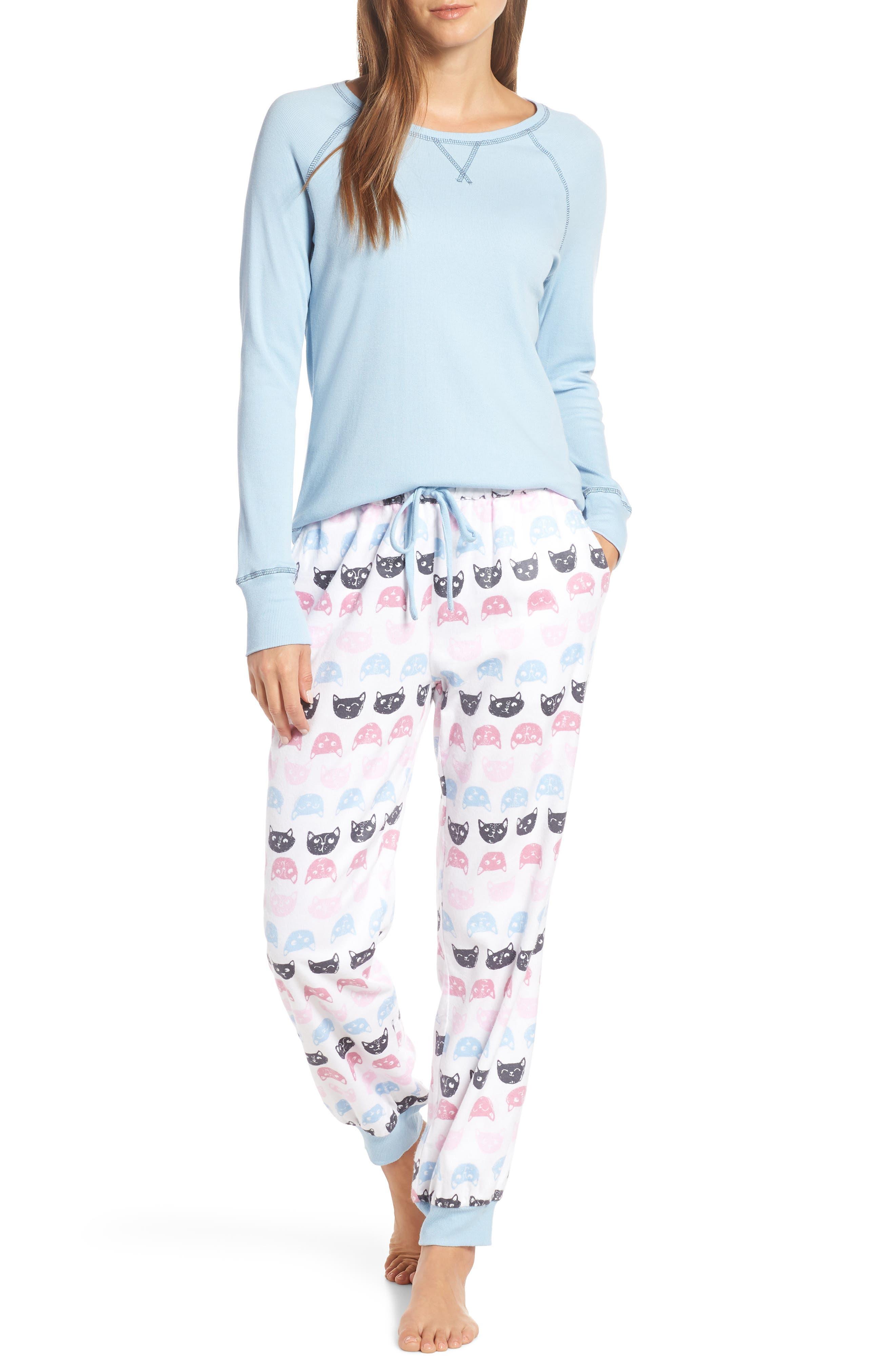 MUNKI MUNKI Knit & Flannel Pajamas, Main, color, WHITE CATS